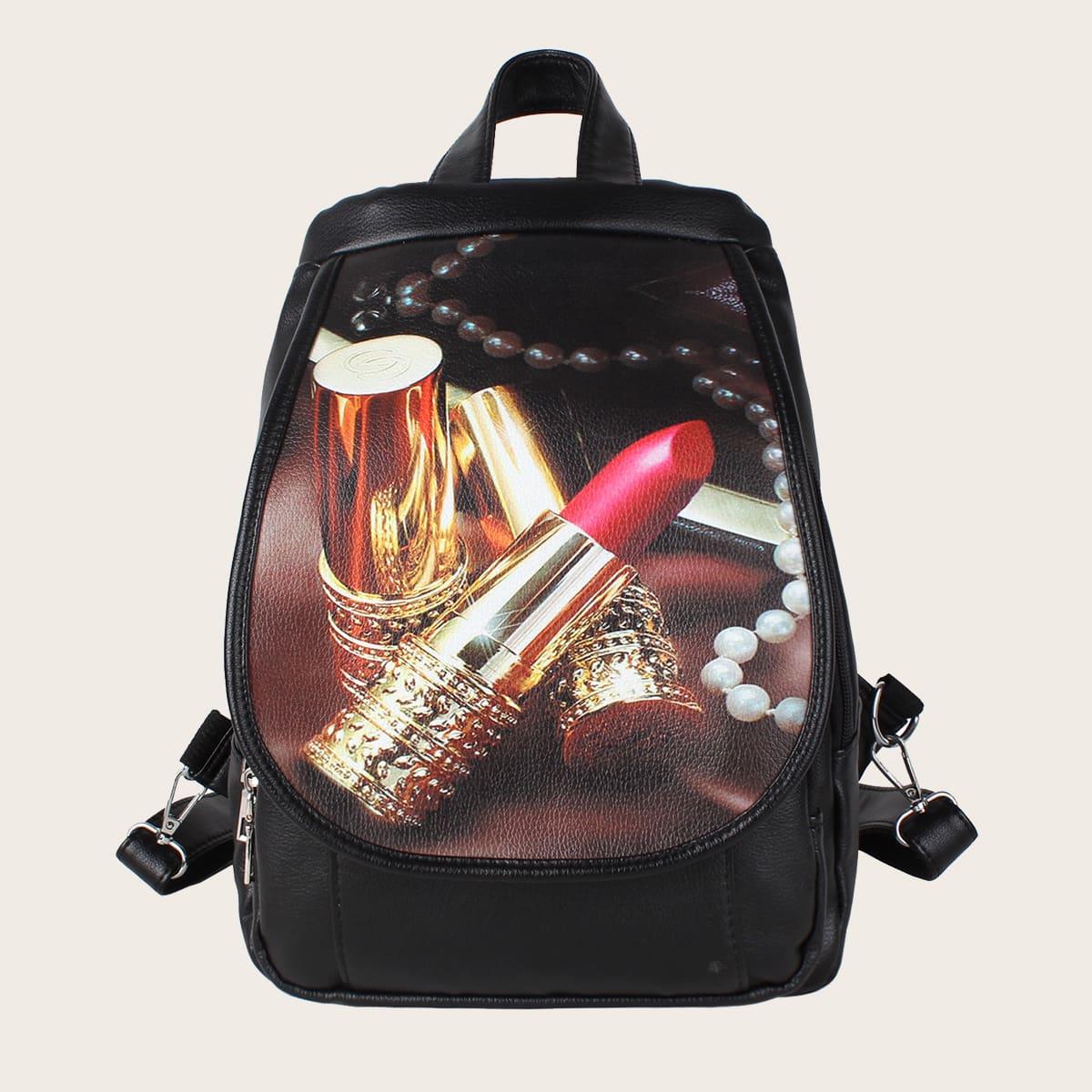 Lipstick Print Flap Backpack
