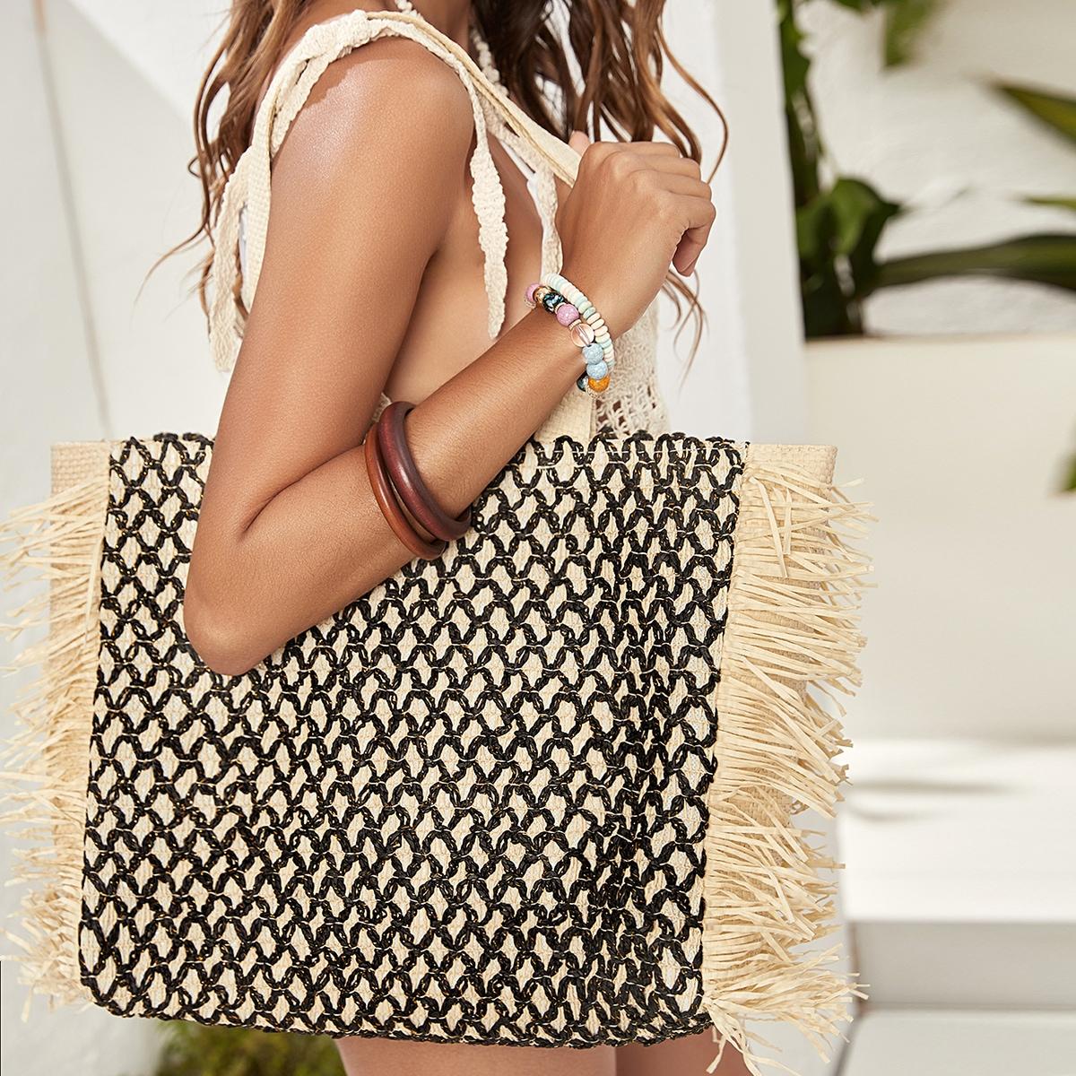 Плетеная сумка-тоут с бахромой