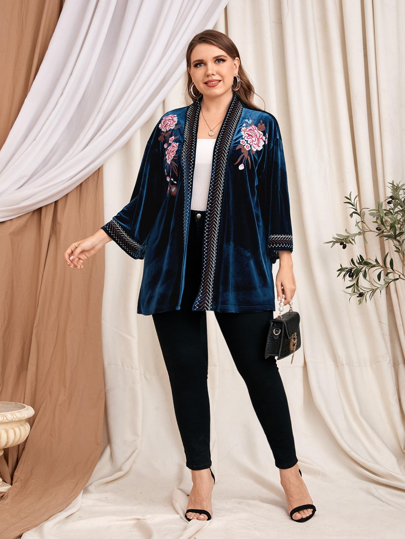 plus velvet floral embroidery coat