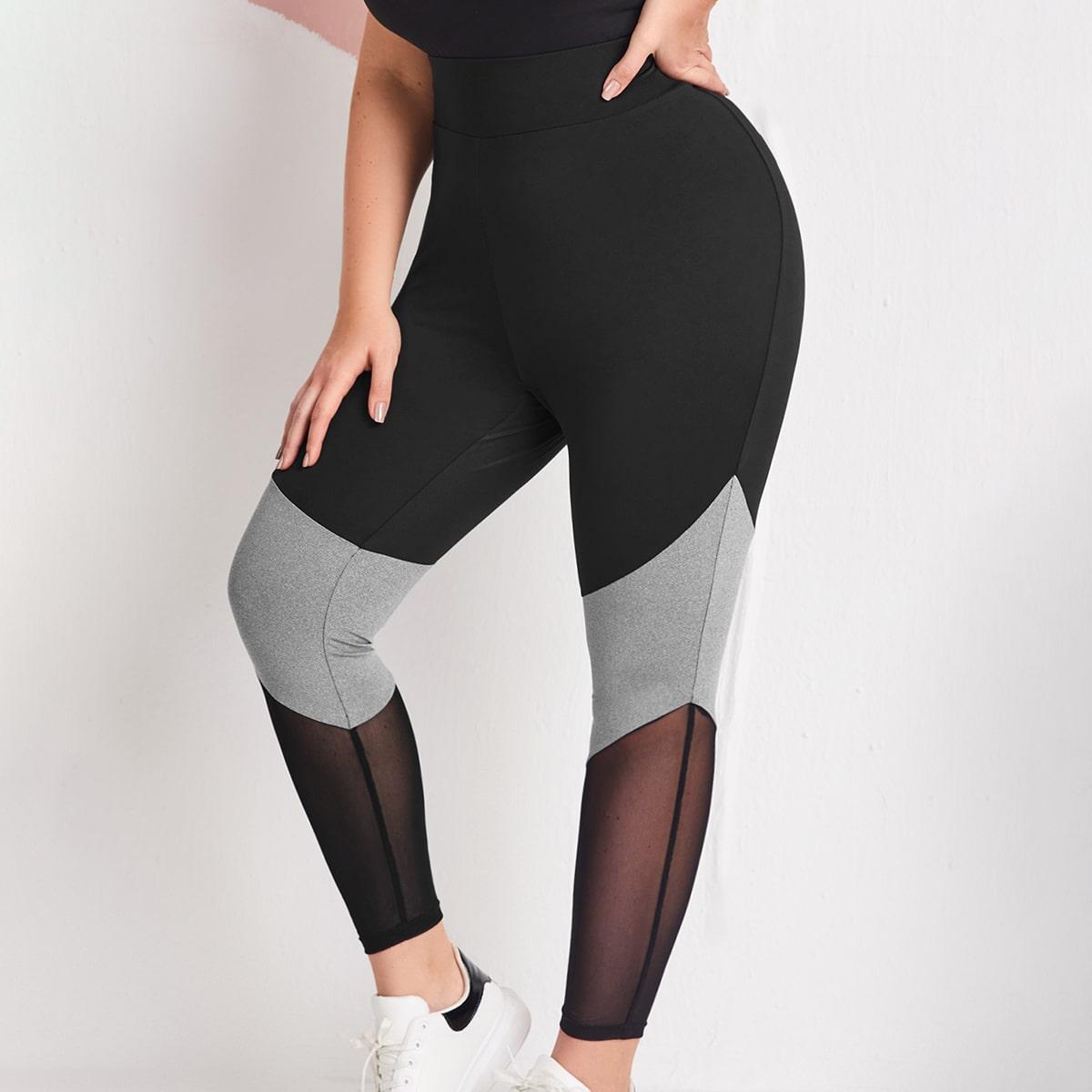 SHEIN Sport Kleurblok Grote maat: legging Contrast doorschijnend