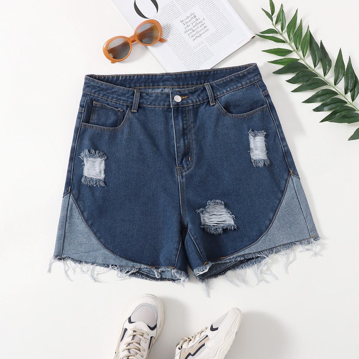 Контрастные рваные джинсовые шорты размера плюс