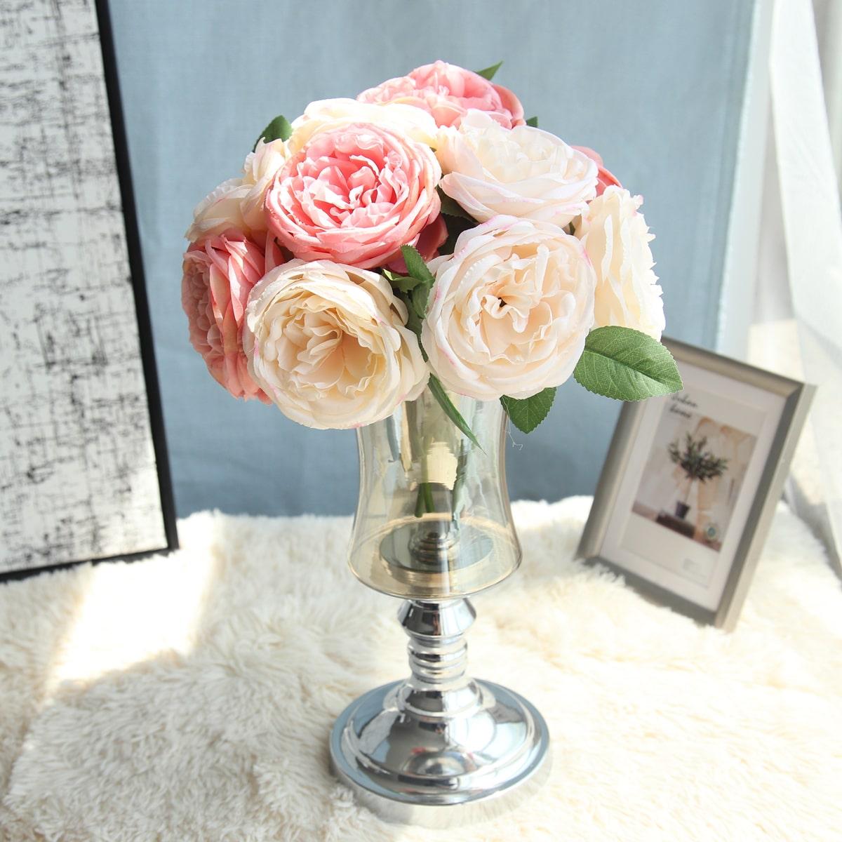 1 Strauß Künstliche Rose mit 5 Stücken Kopf