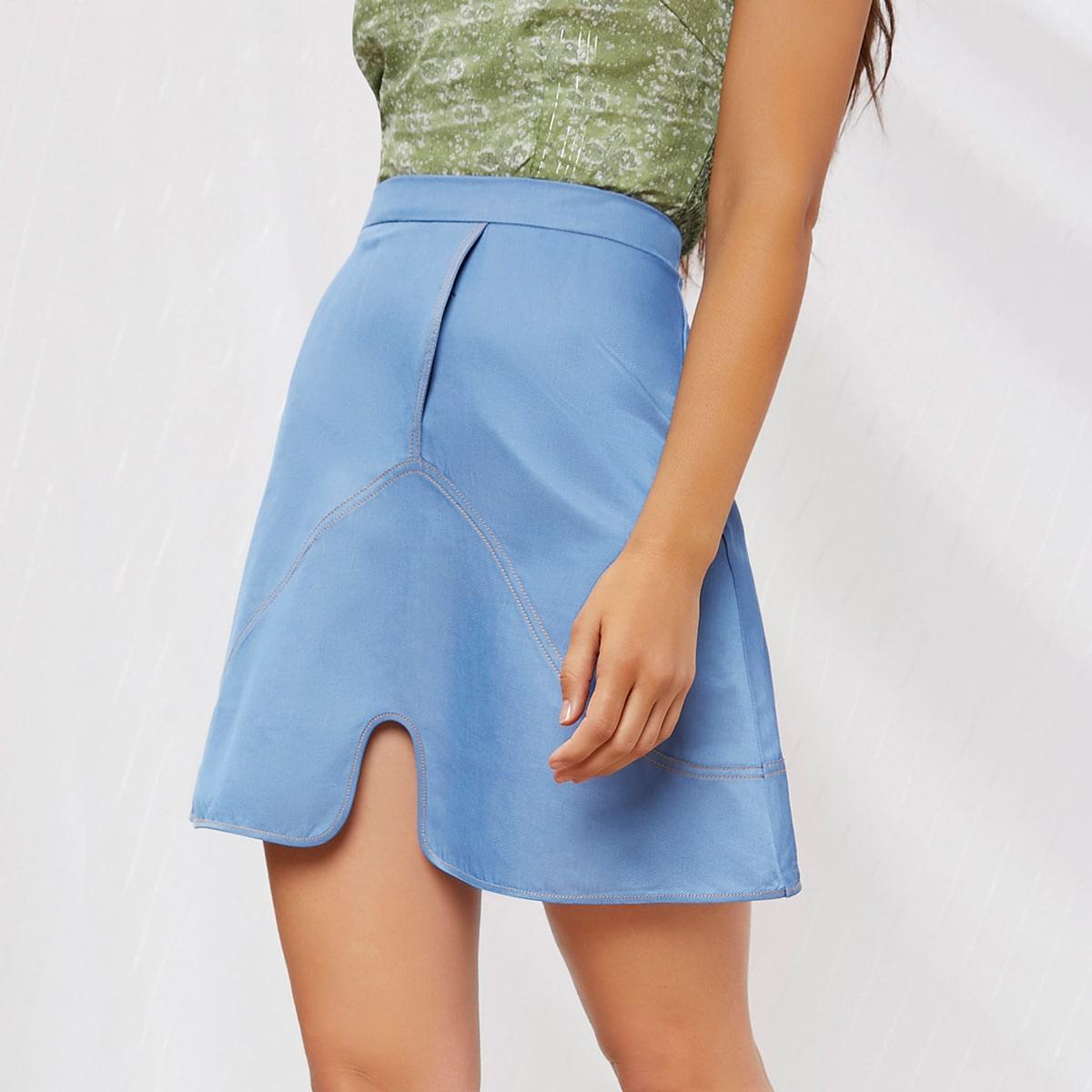 SHEIN / Zipper Side Contrast Stitch Split Hem Skirt
