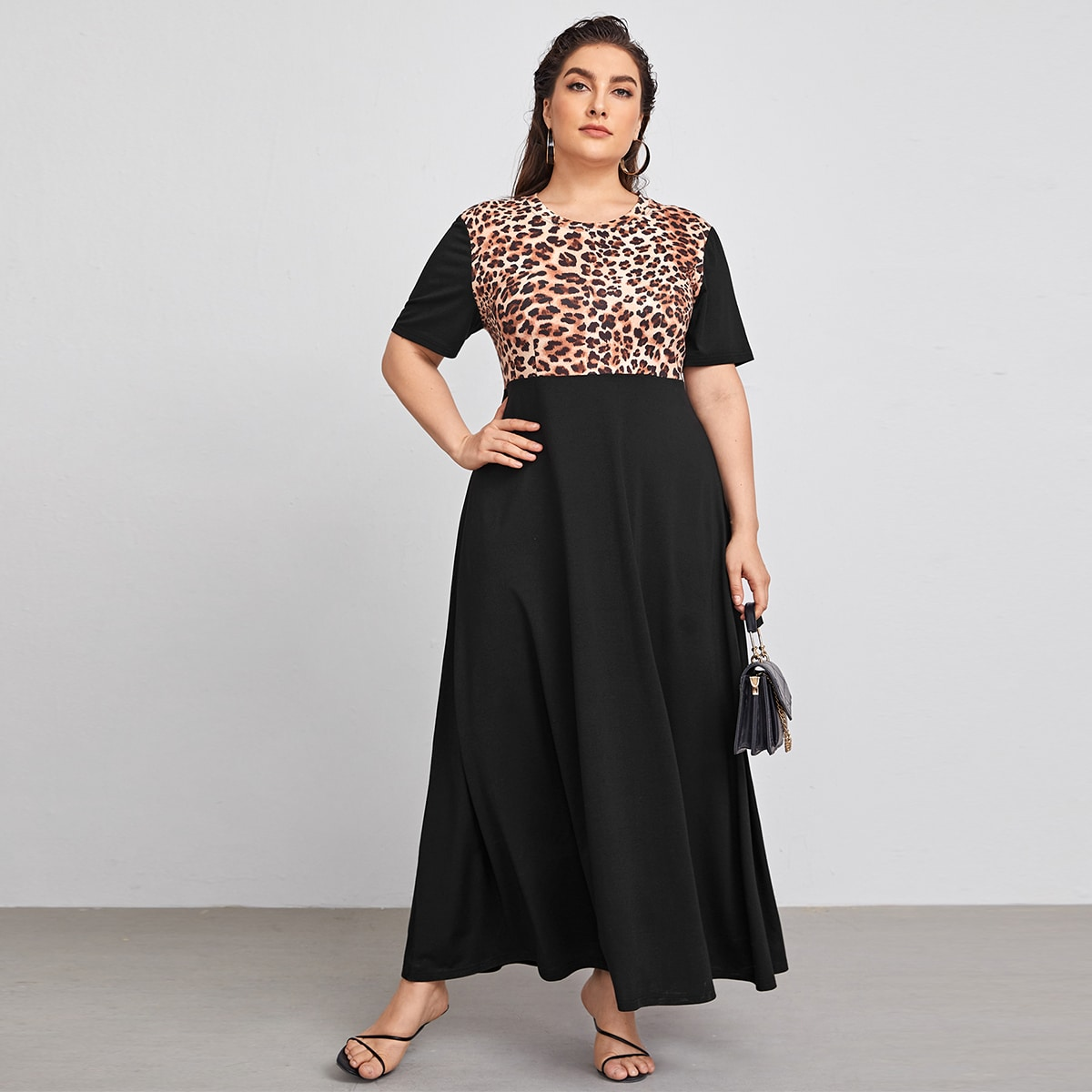 Plus Leopard Print Short Sleeve A-line Dress