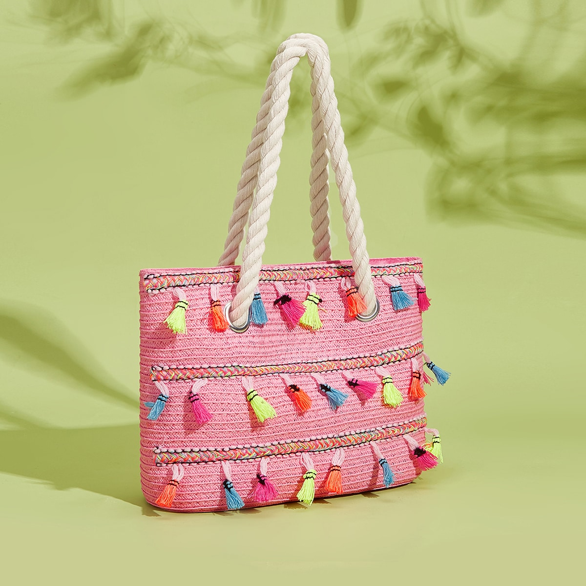 Соломенная сумка для девочек с бахромой