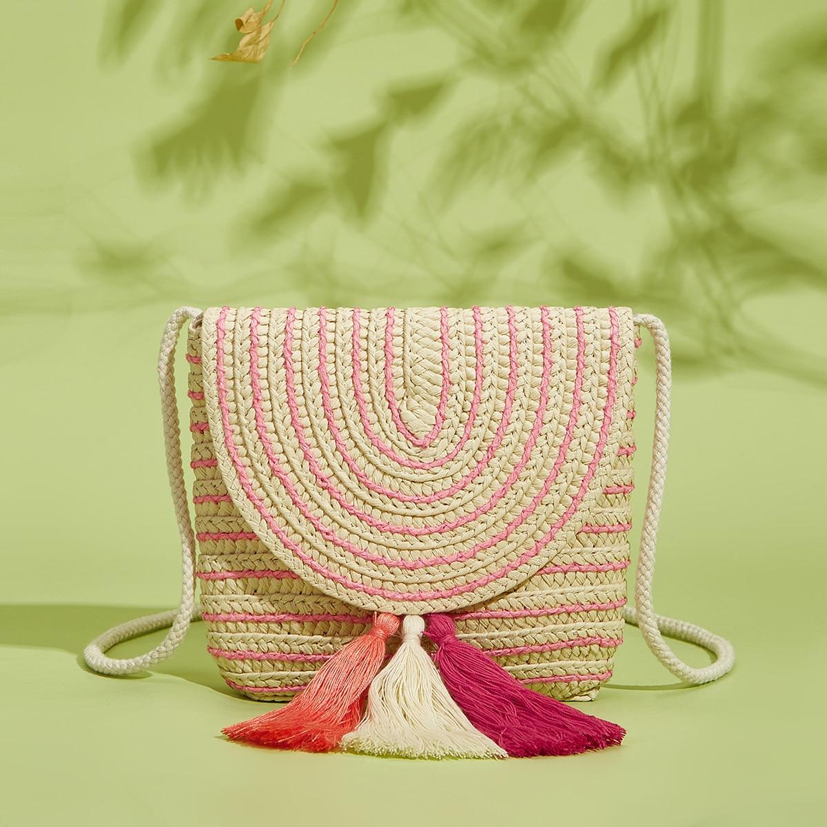 Соломенная сумка с бахромой для девочек