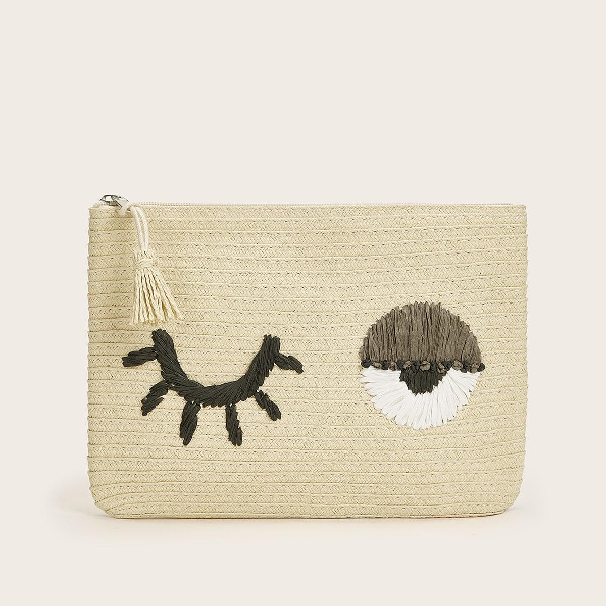 Соломенная сумка-клатч с мультипликационным рисунком