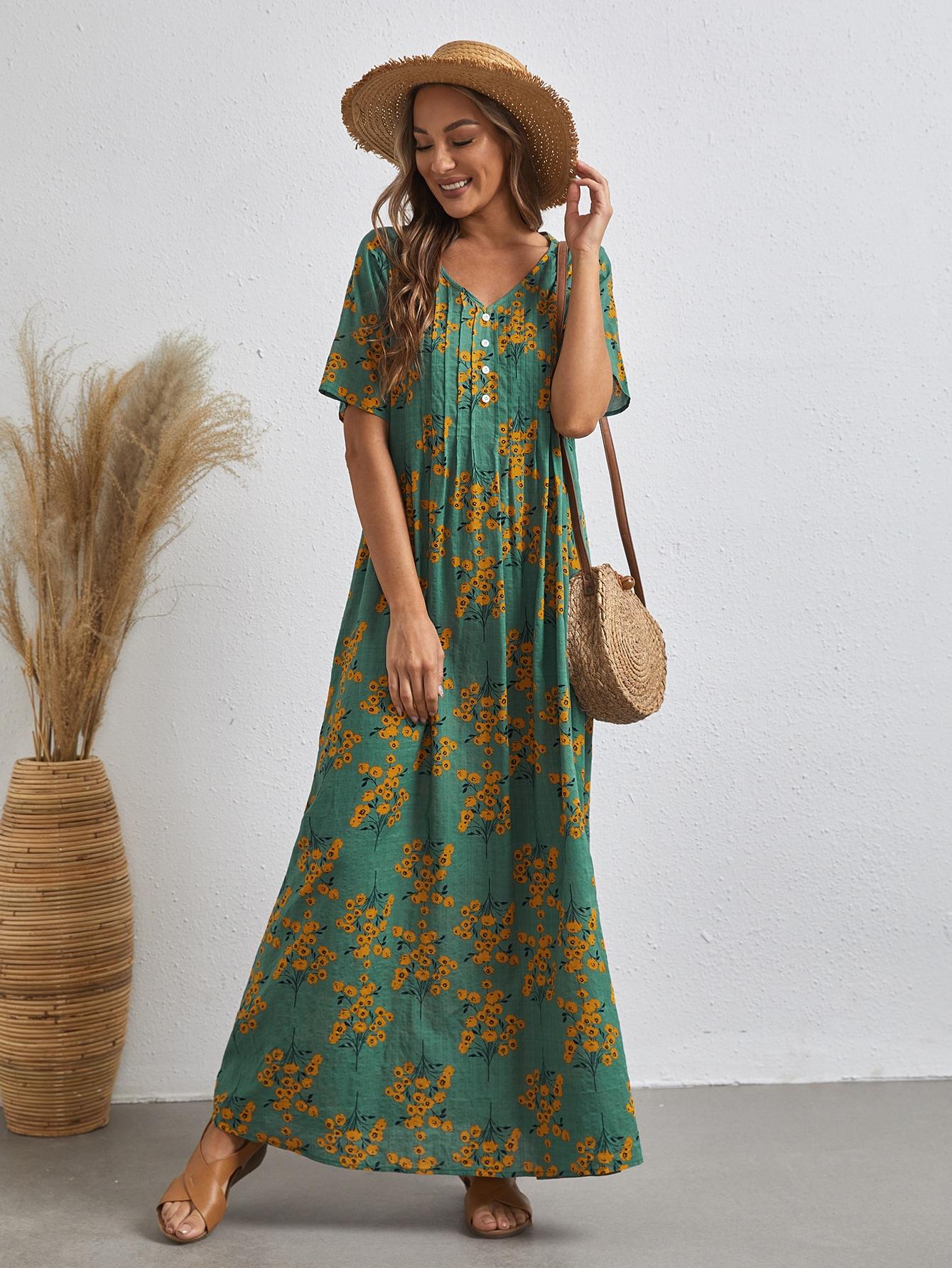 Платье с цветочным принтом и пуговицамиswdress07201217797