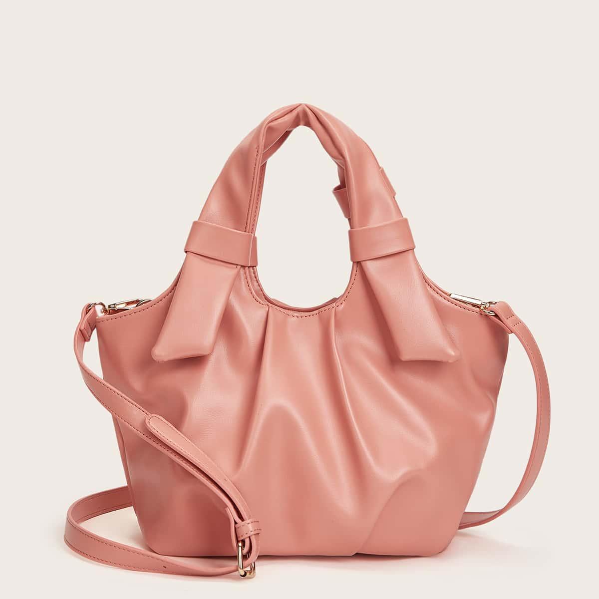 Solid Ruched Satchel Bag