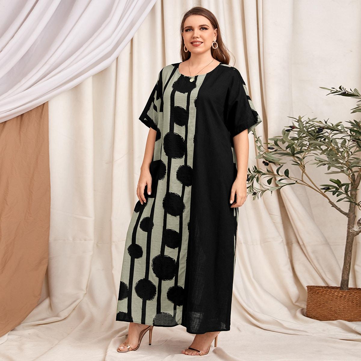 Платье размера плюс в полоску с карманом и геометрическим принтом