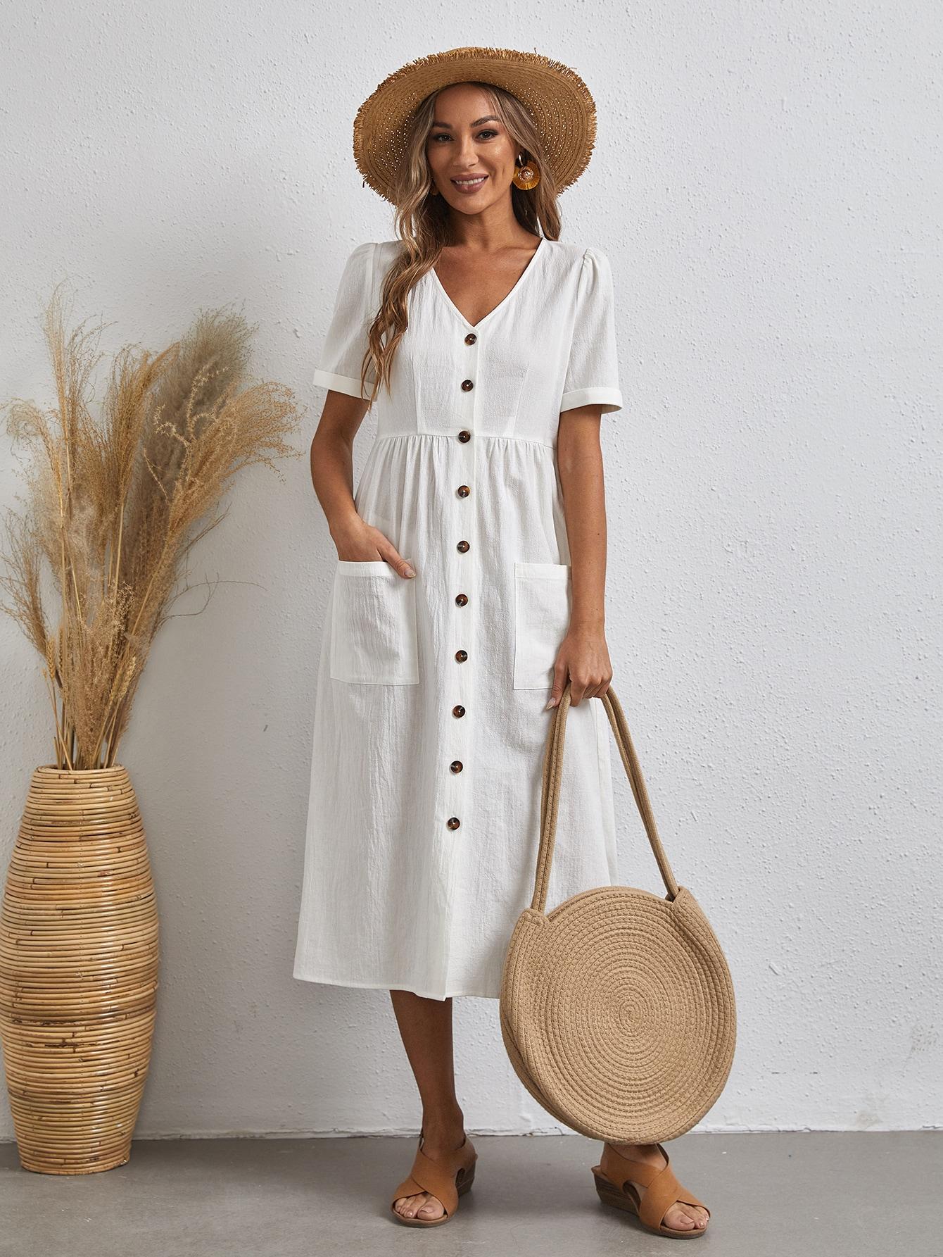 Однобортное платье с карманамиswdress07210107569