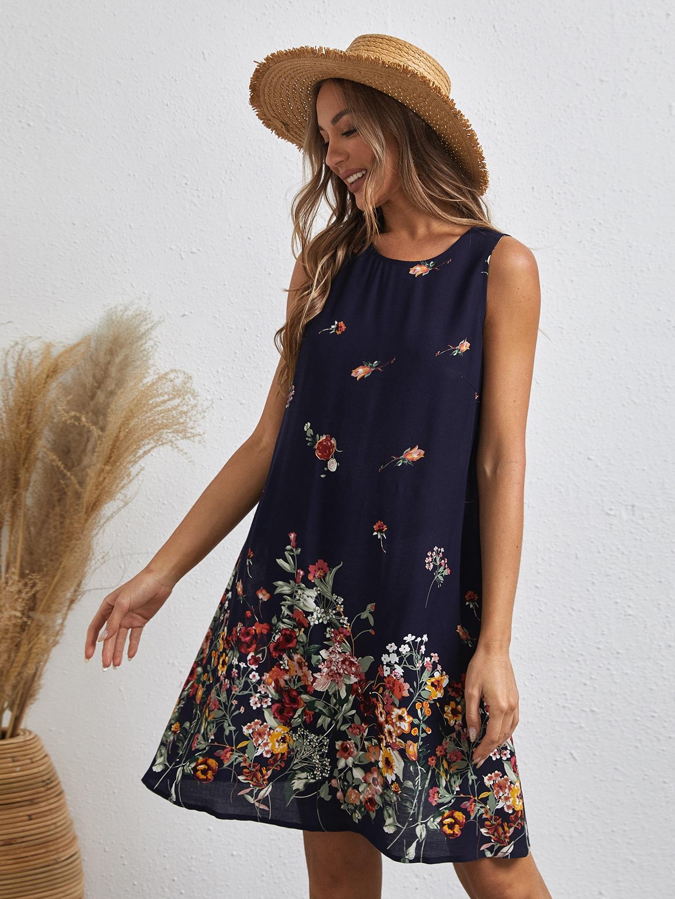 Платье с цветочным принтом без рукавовswdress07210112916