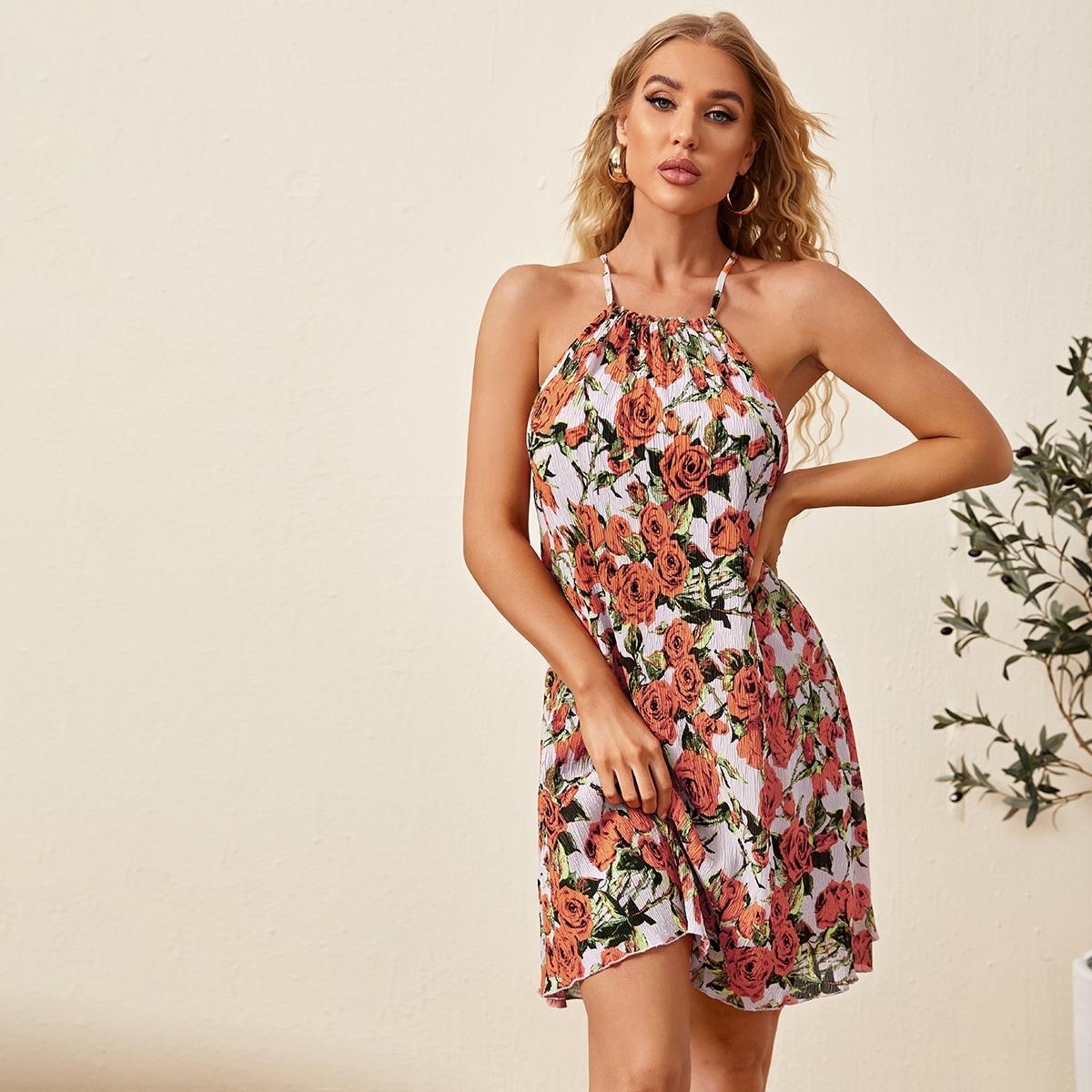 Платье-халтер с цветочным принтом по цене 990