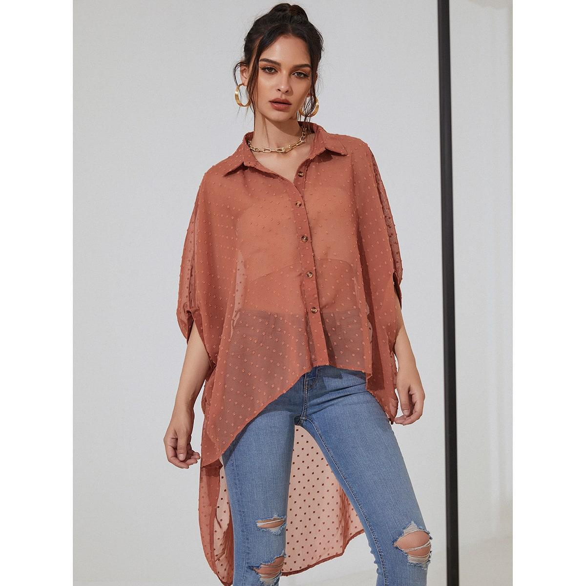 Асимметричная прозрачная блузка