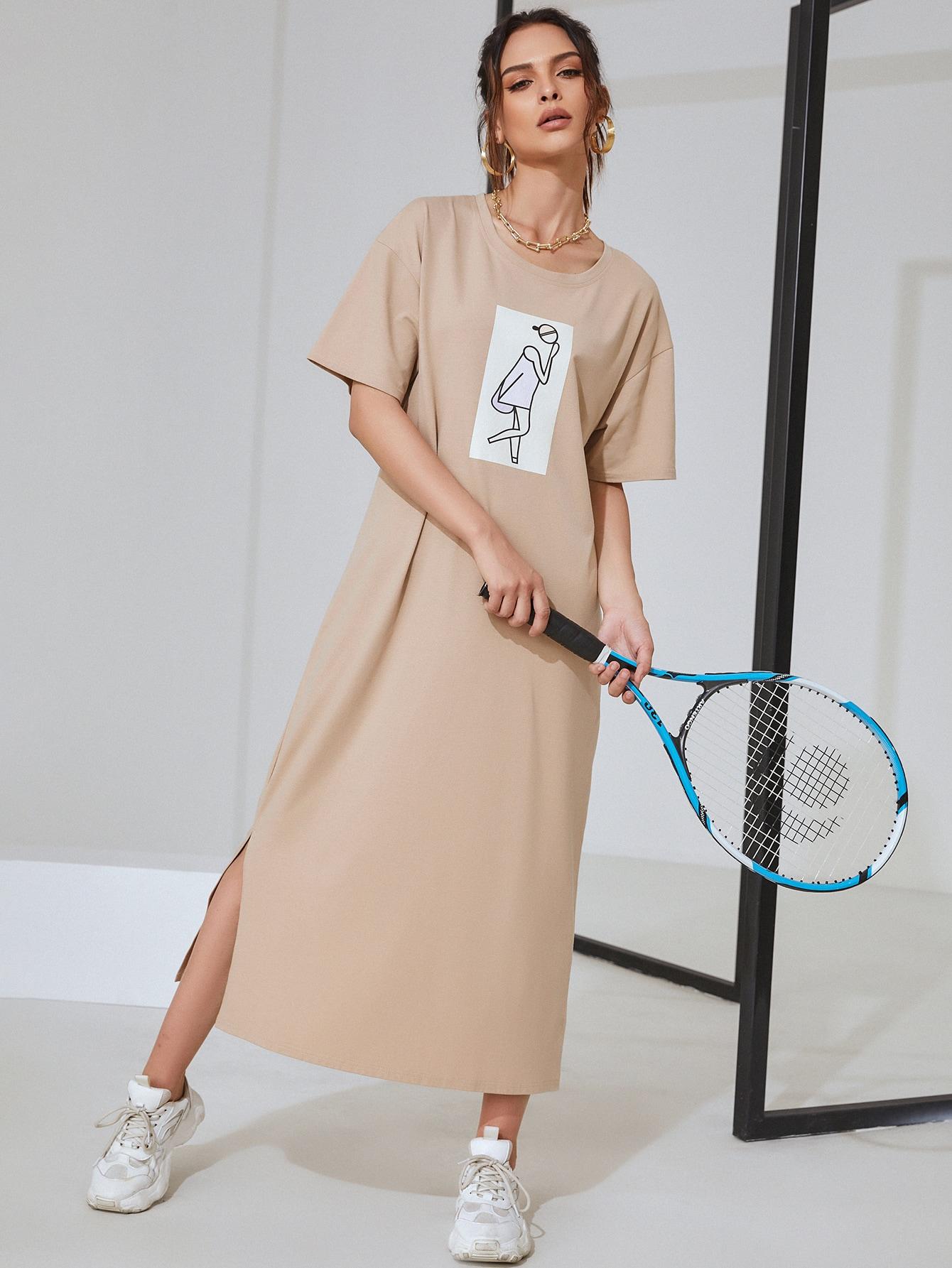 Платье-футболка с разрезом и мультипликационным принтомswdress03210120367