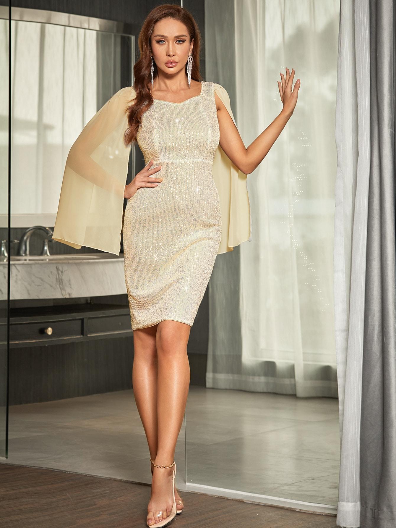 sequin contrast split sleeve bodycon dress