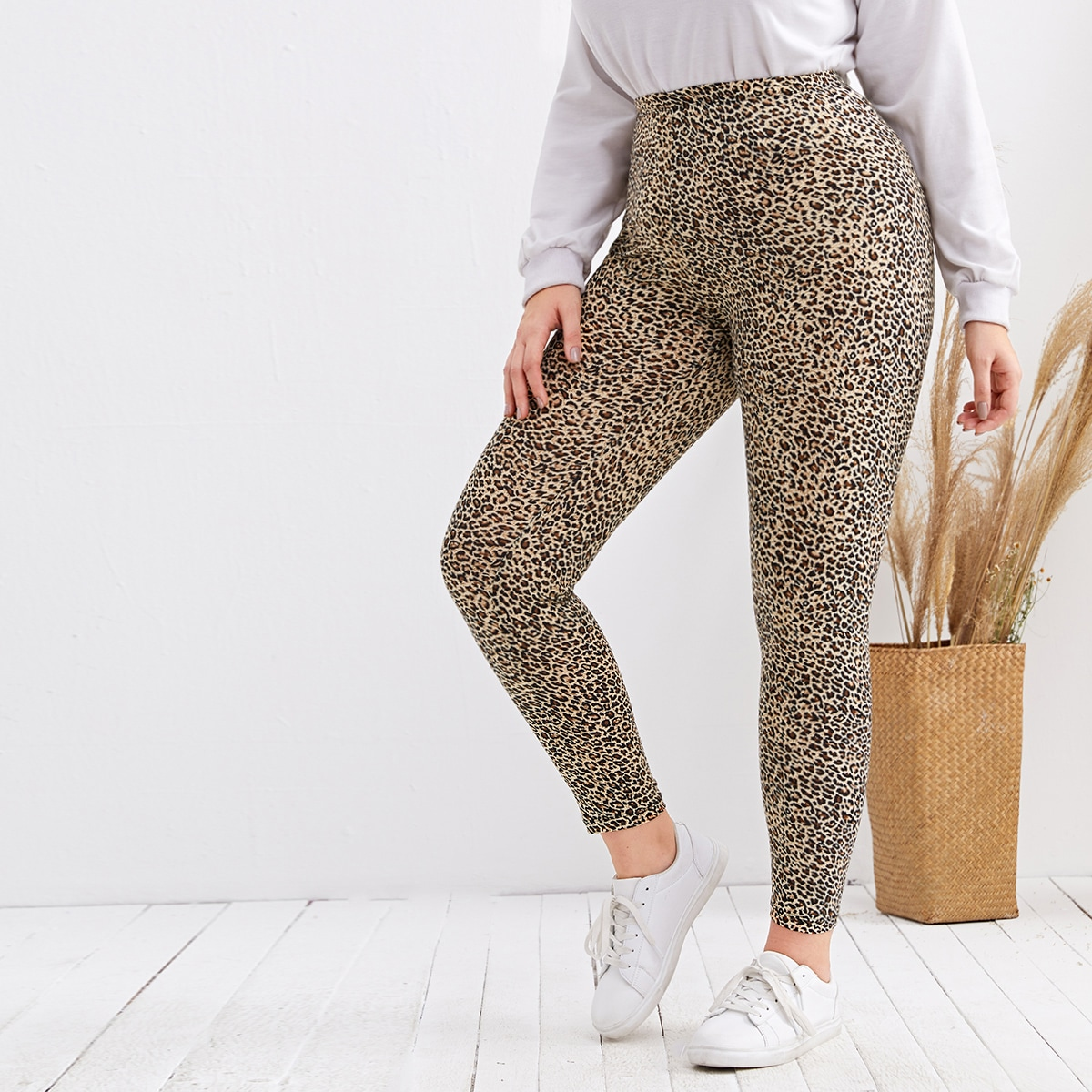 SHEIN Casual Luipaard Grote maat: legging