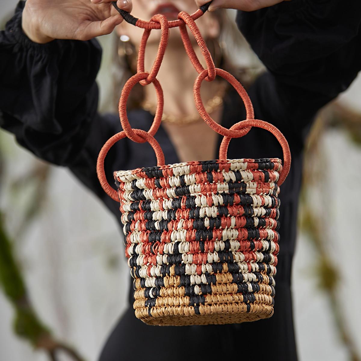 SHEIN / Color Block Straw Satchel Bag