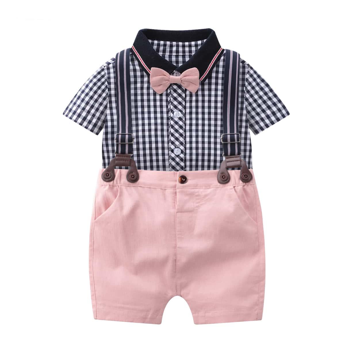 Shirt mit Schleife, Gingham Muster & Shorts mit Träger