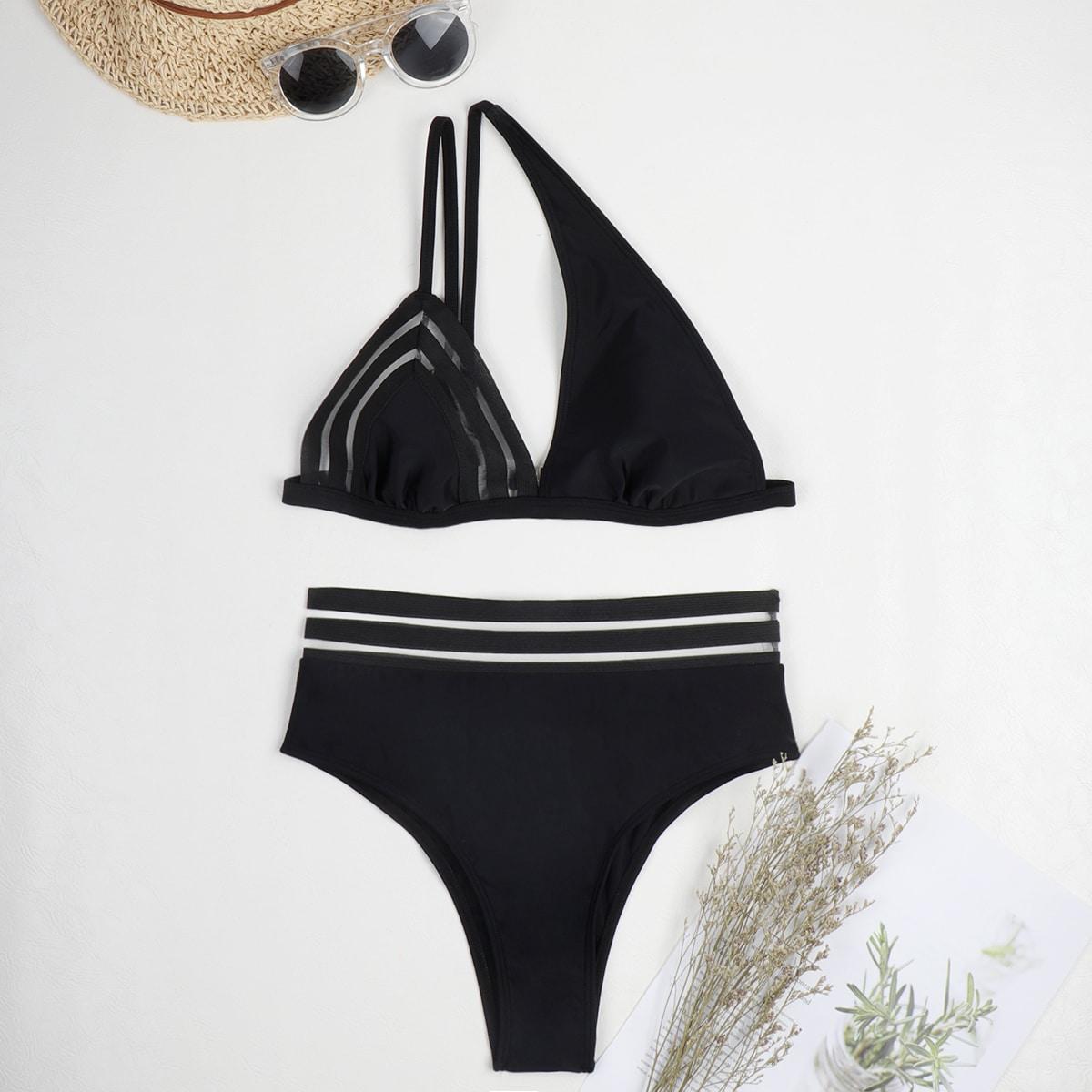 SHEIN / Mesh Trim Cut-out One Shoulder Bikini Swimsuit
