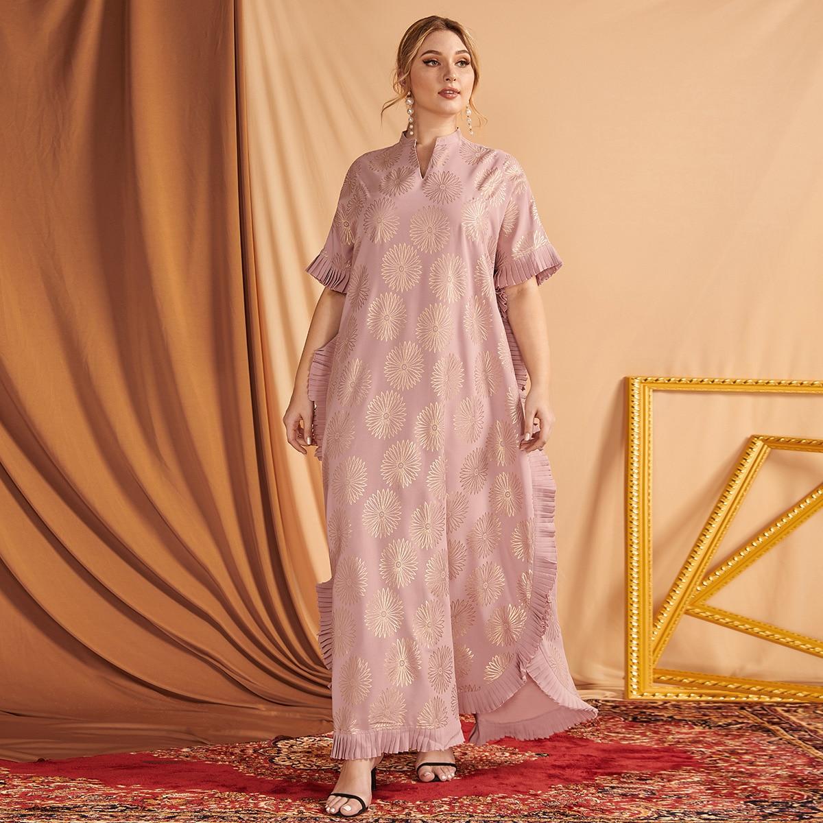 Жаккардовое платье макси размера плюс с оборками