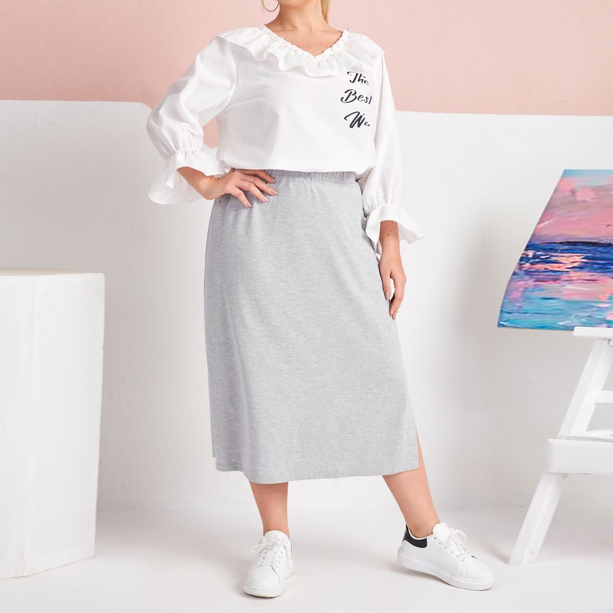 SHEIN / Plus Tape Side Split Hem Skirt