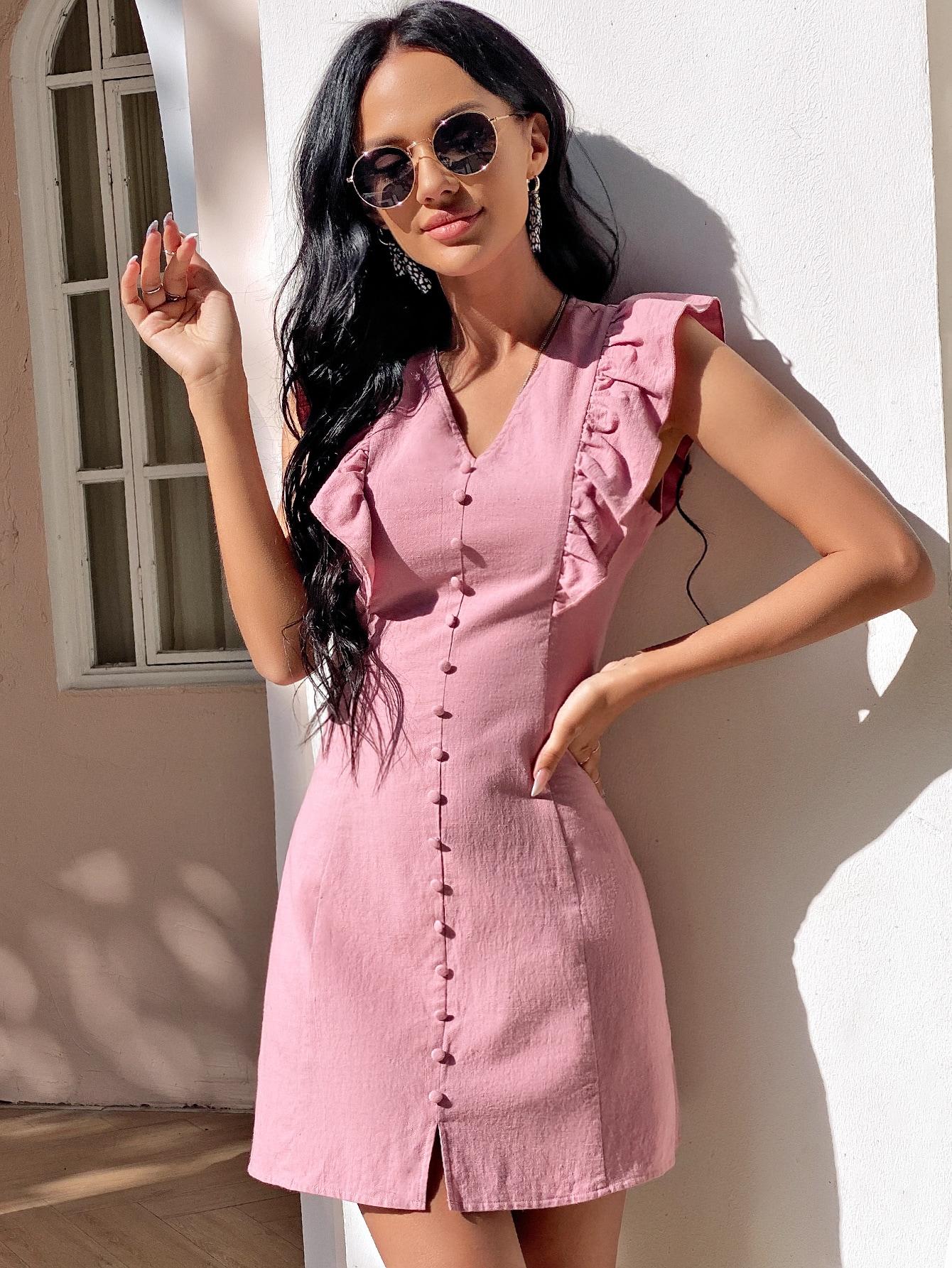 Платье с оборкой и пуговицамиswdress23201228926