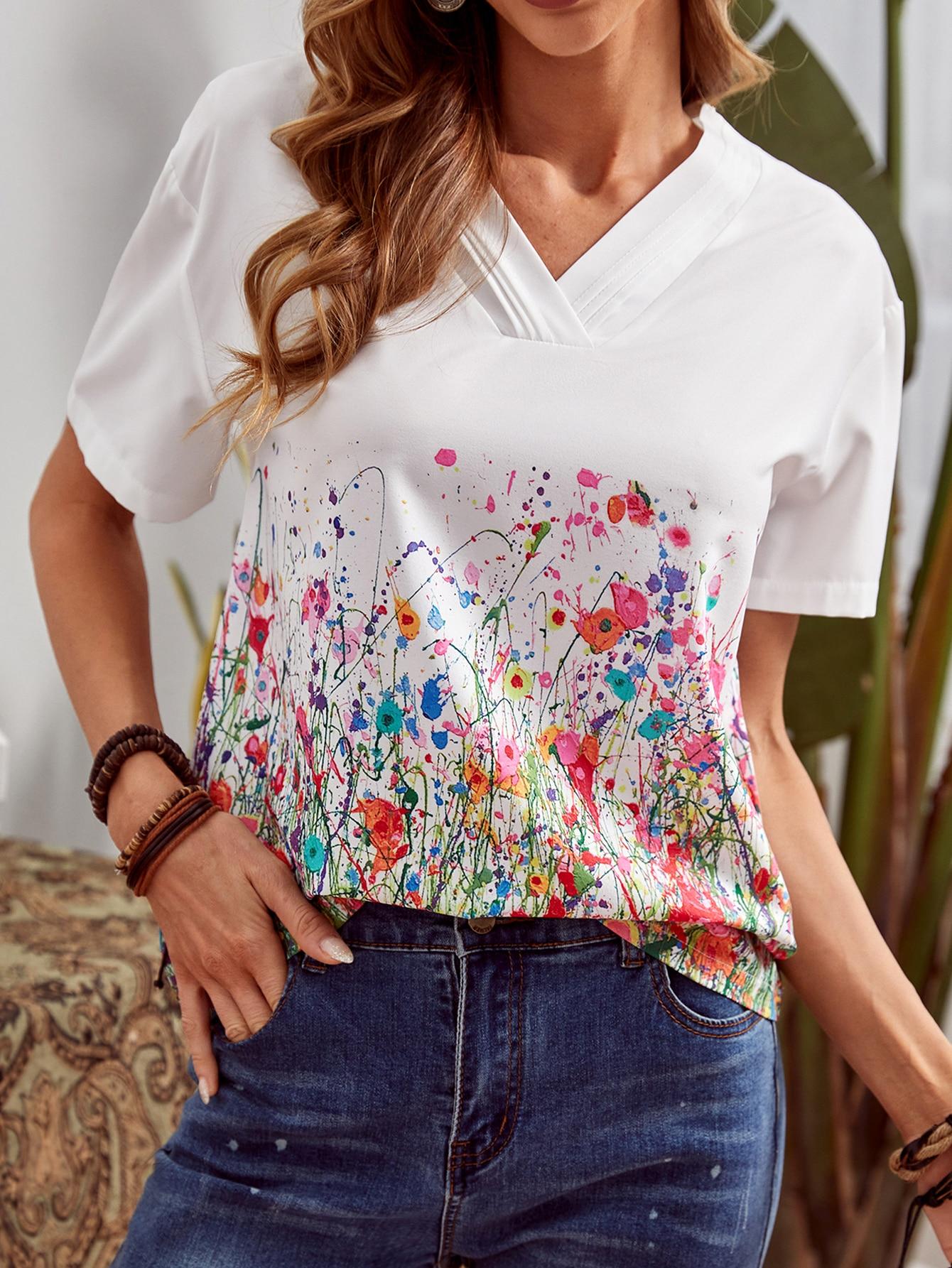 Цветочный Повседневный Блузыswblouse00201214146