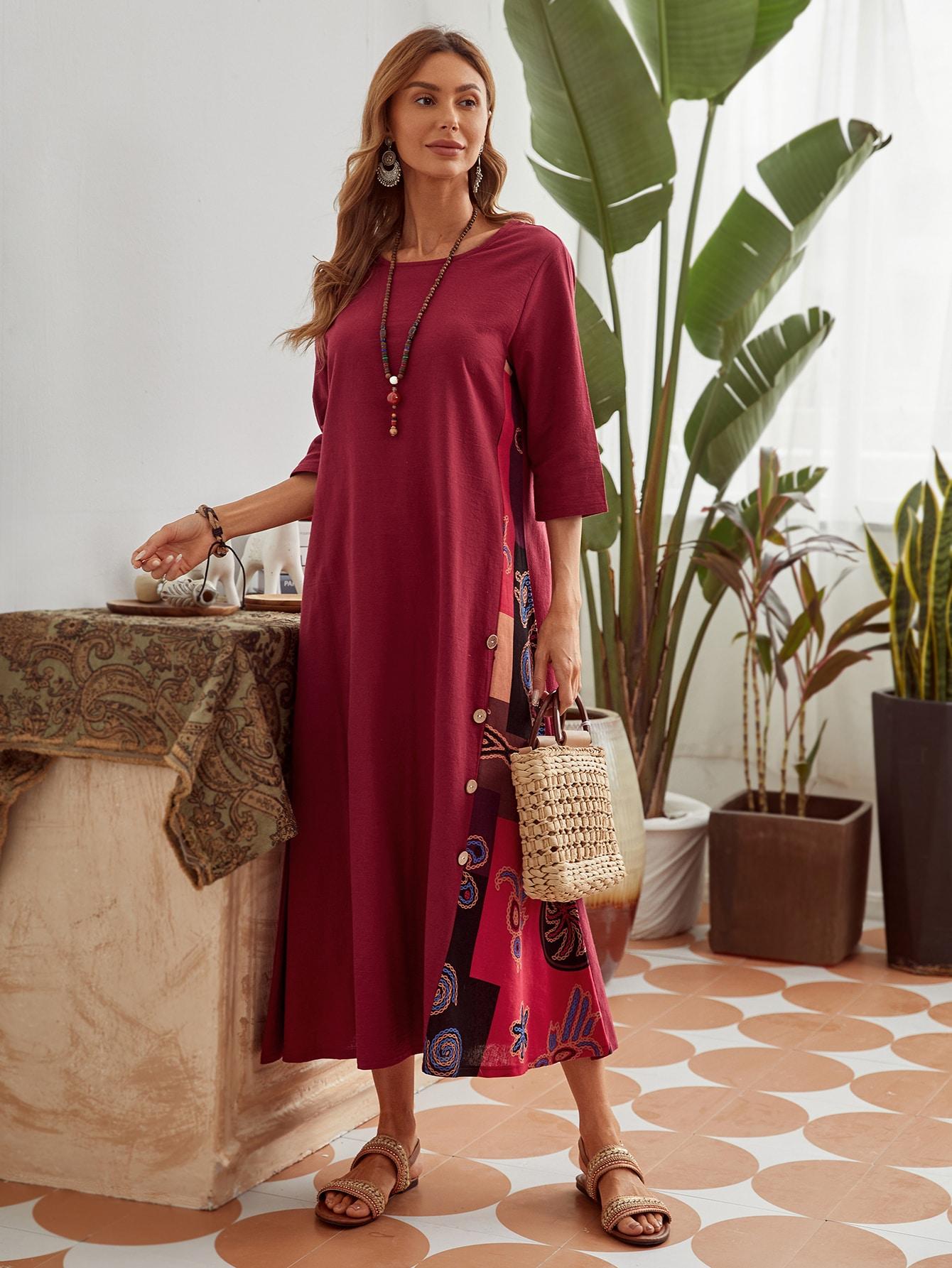 Платье с графическим принтом и пуговицамиswdress29201222669