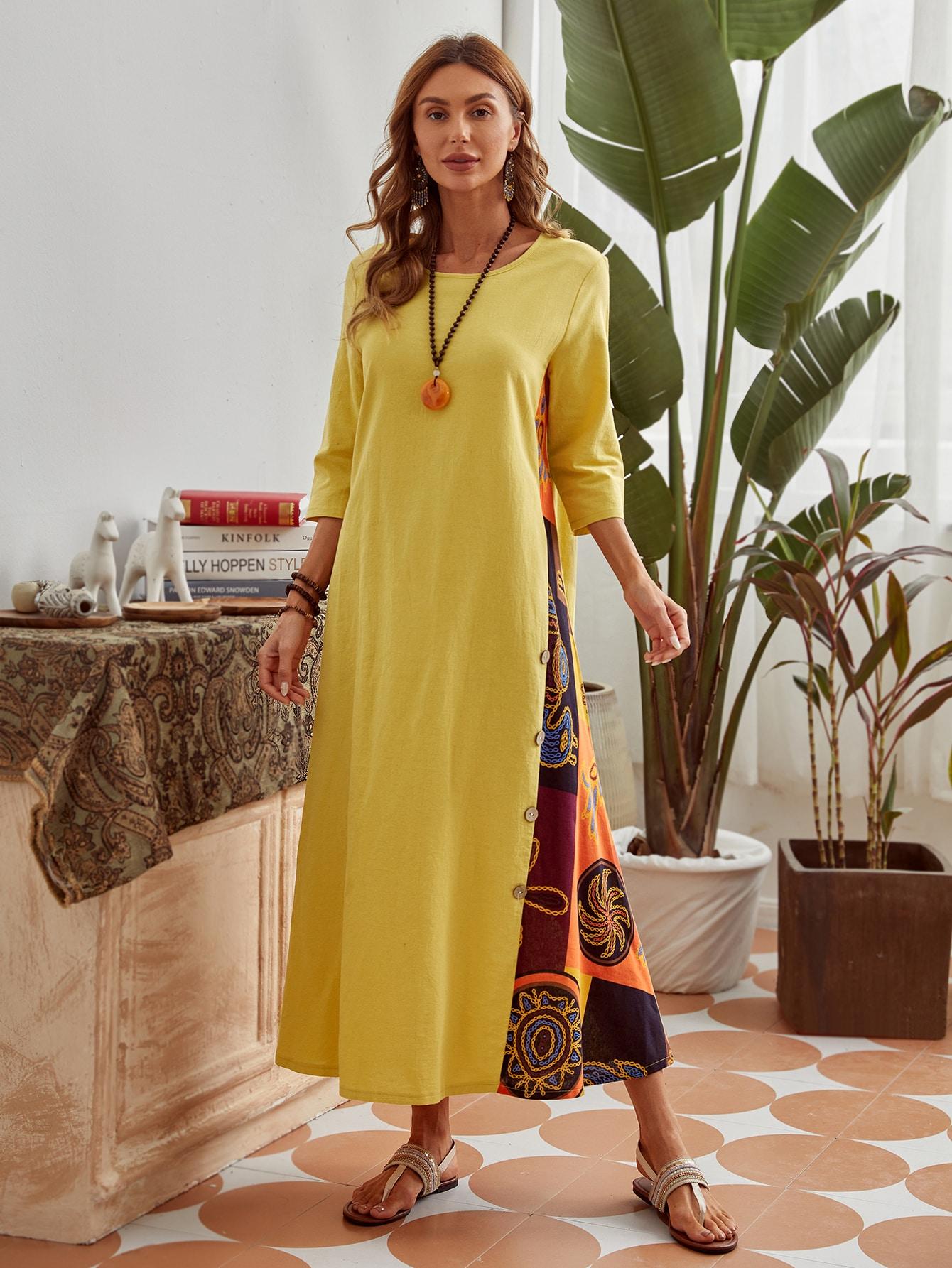 Платье с графическим принтом и пуговицамиswdress29201222661