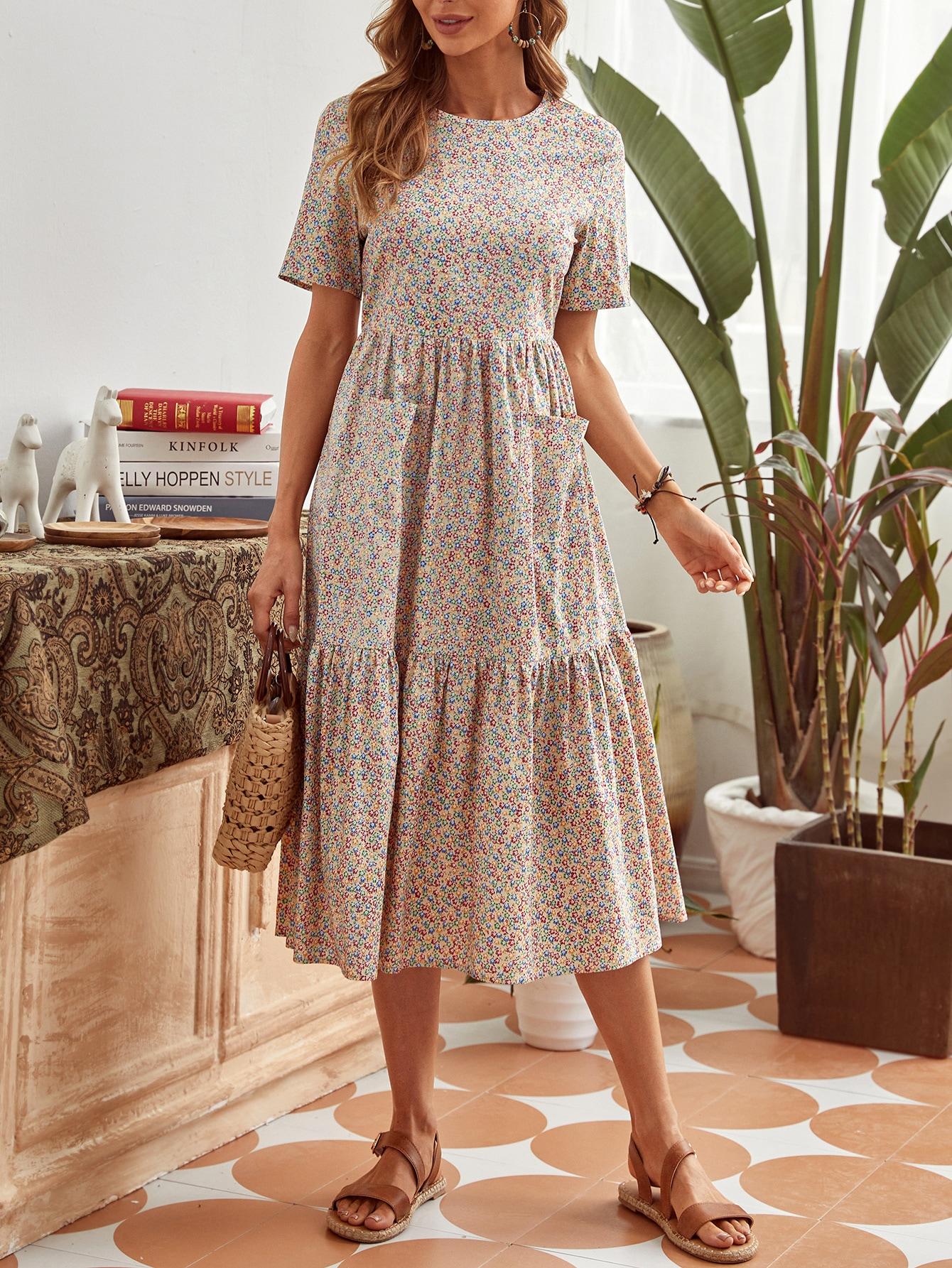 Платье с карманами и цветочным принтомswdress00201215539