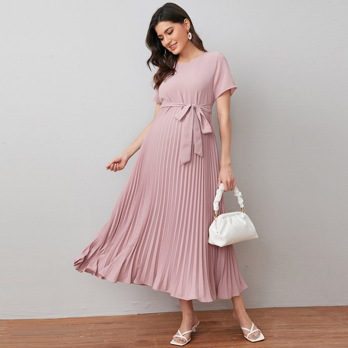 Maternity Self Belted Pleated Dress