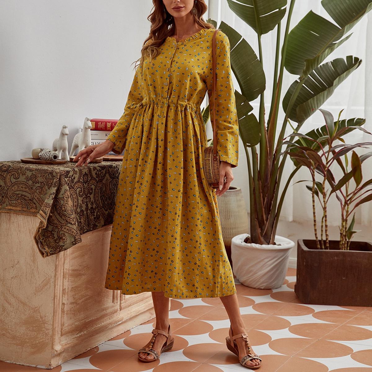 Платье на кулиске с принтом листьев