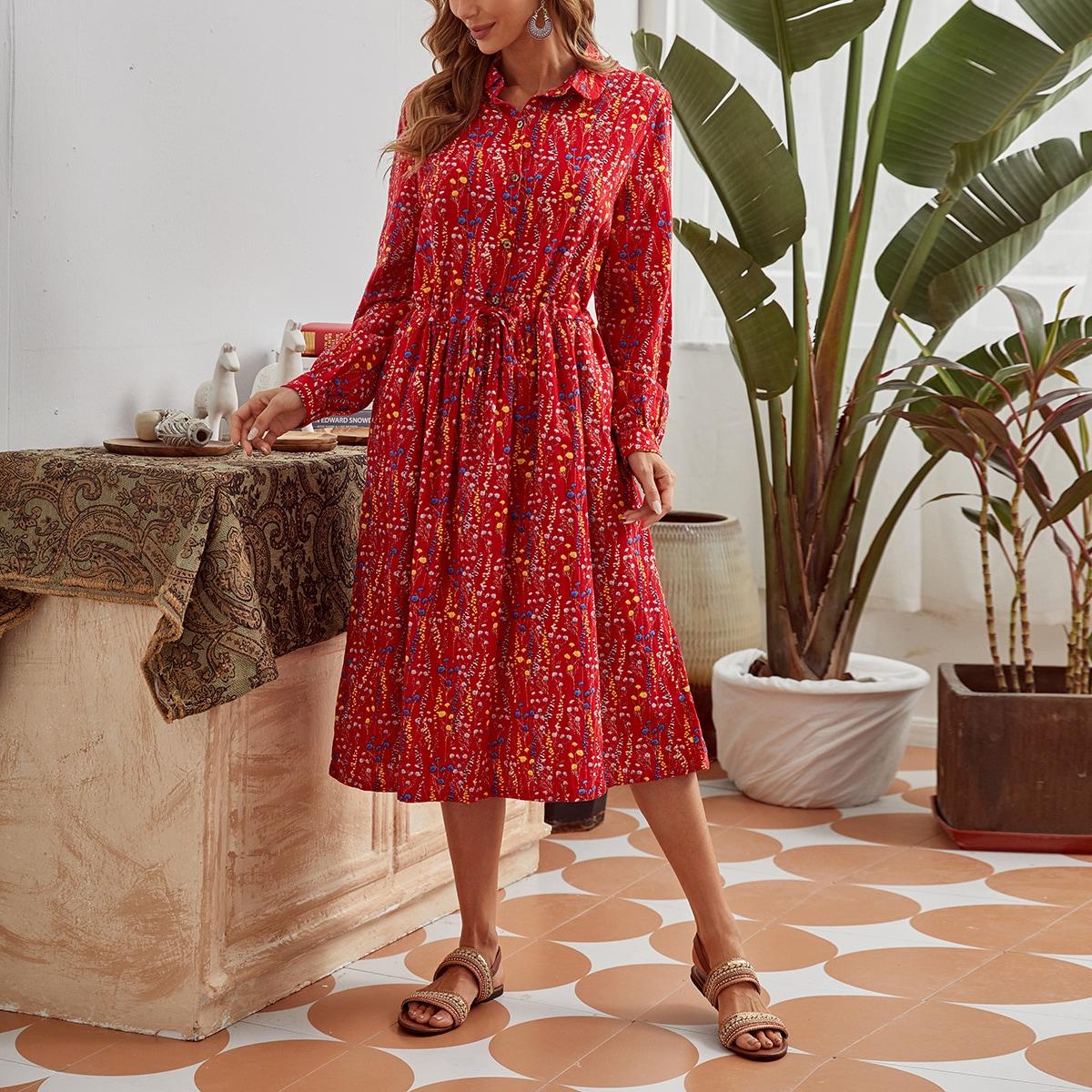 Платье-рубашка на кулиске с цветочным принтом