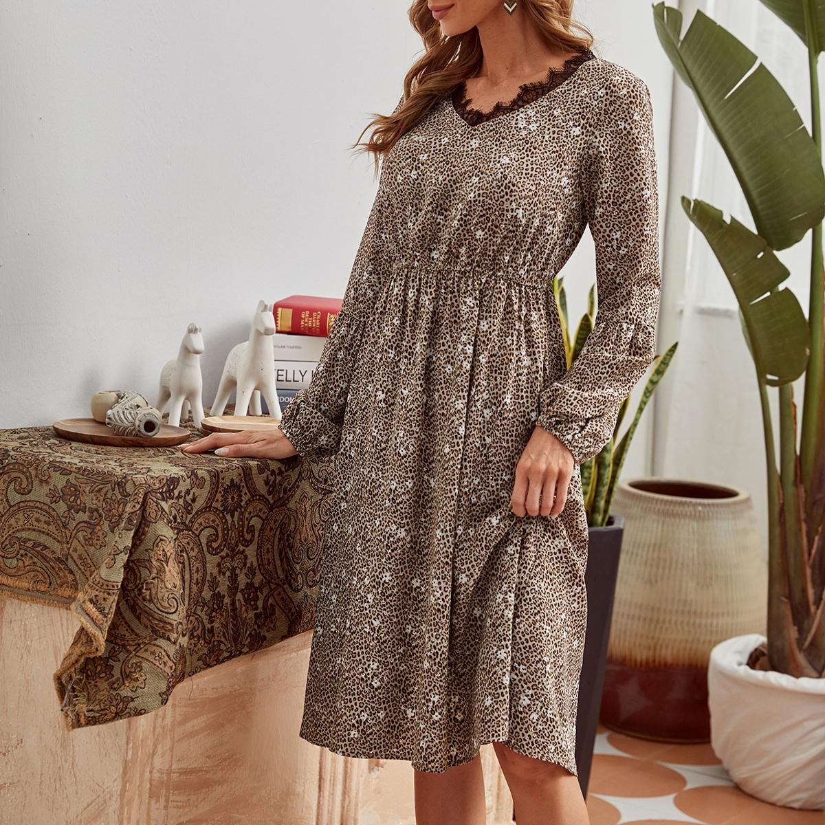 Lace Trim Leopard Print A-Line Dress