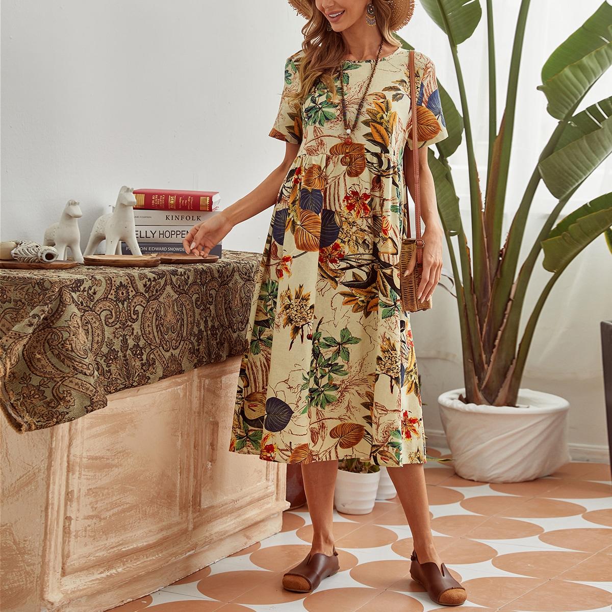 Платье с ботаническим принтом