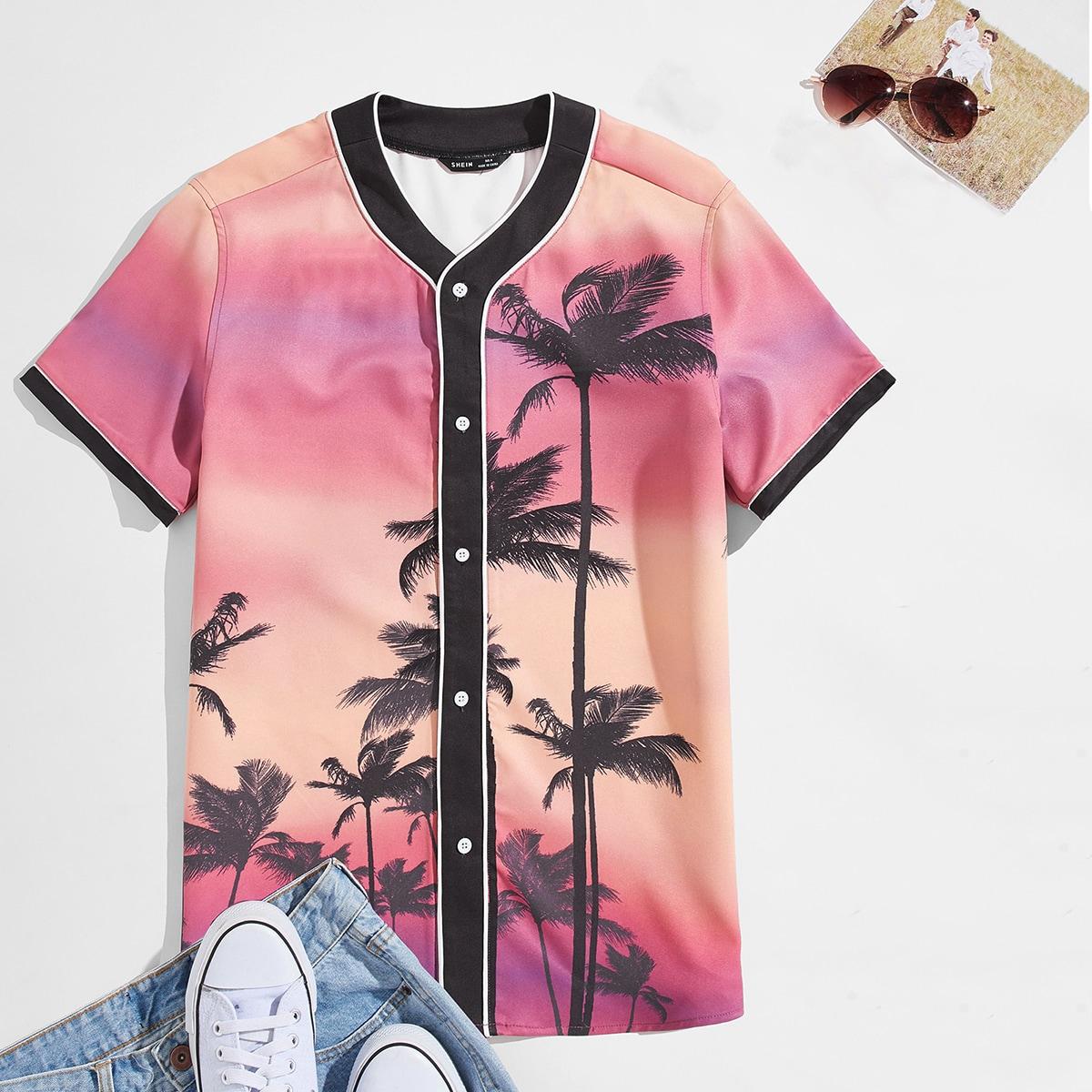 Мужская рубашка с тропическим принтом по цене 1 500