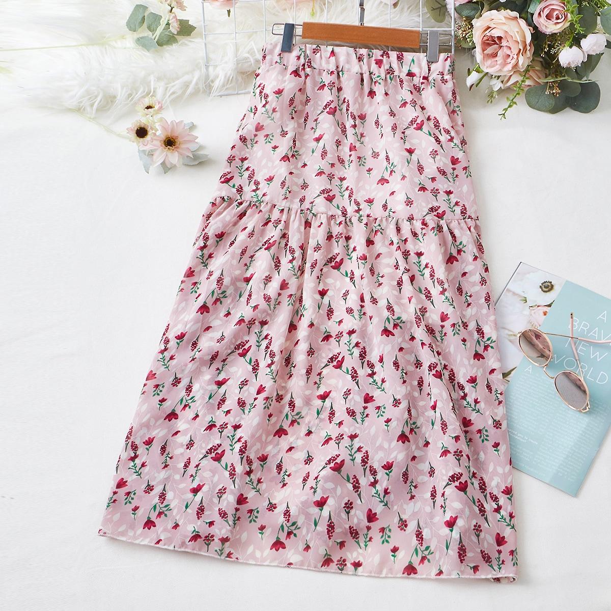 Шифоновая юбка с цветочным принтом и эластичной талией