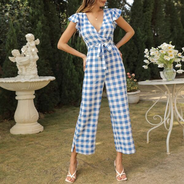 Buffalo Plaid Butterfly Sleeve Belted Jumpsuit, Blue and white