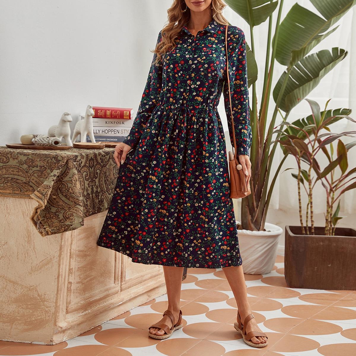 Платье на кулиске с пуговицами и цветочным принтом