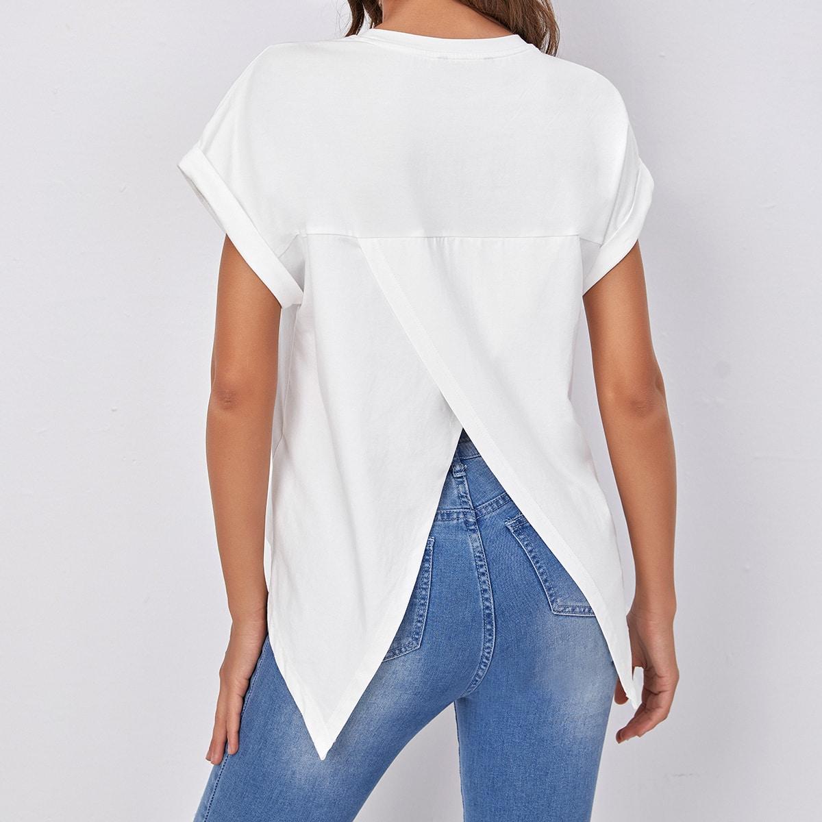 Однотонная футболка SheIn swtee07210112164