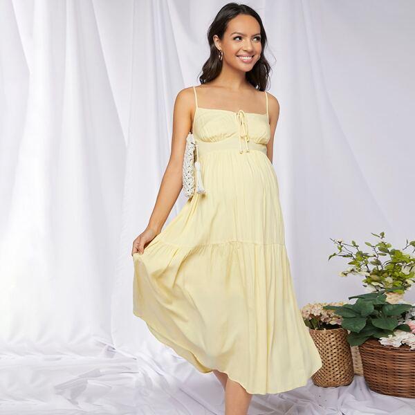 Maternity Tie Front Shirred Back Ruffle Hem Cami Dress, Yellow pastel