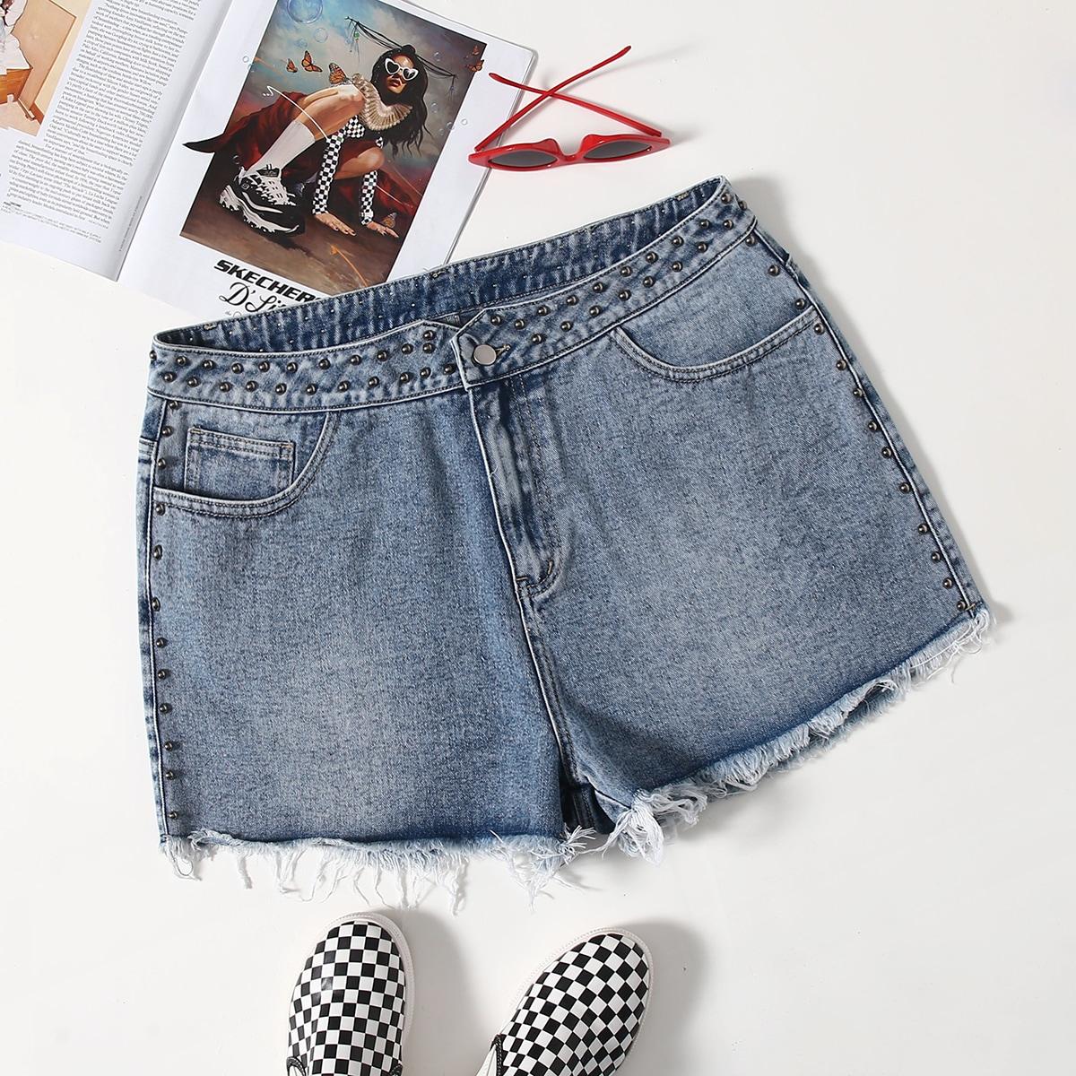 Джинсовые шорты размера плюс с бусинами