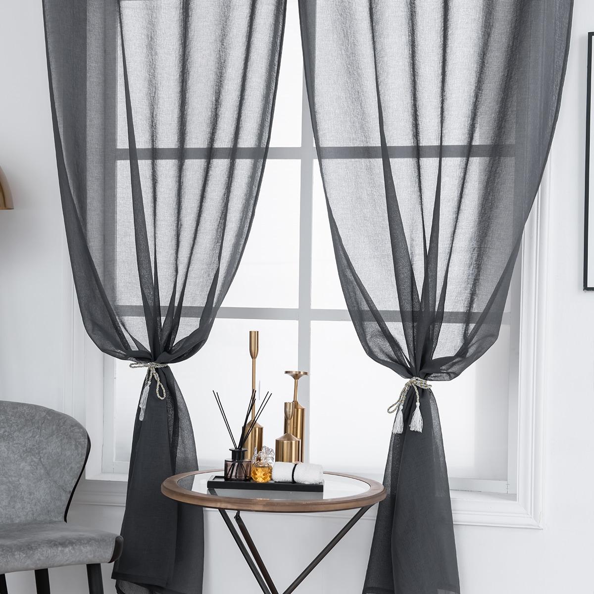 1 Schal Vorhang mit Netzstoff