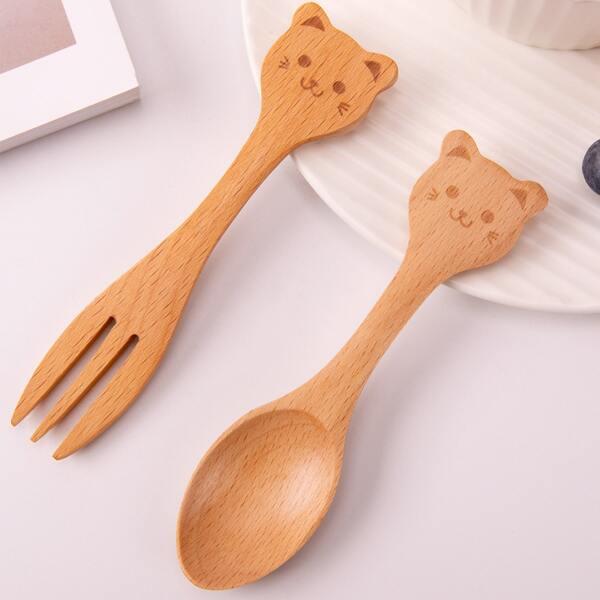 2pcs Kids Cartoon Spoon & Fork Set, Apricot