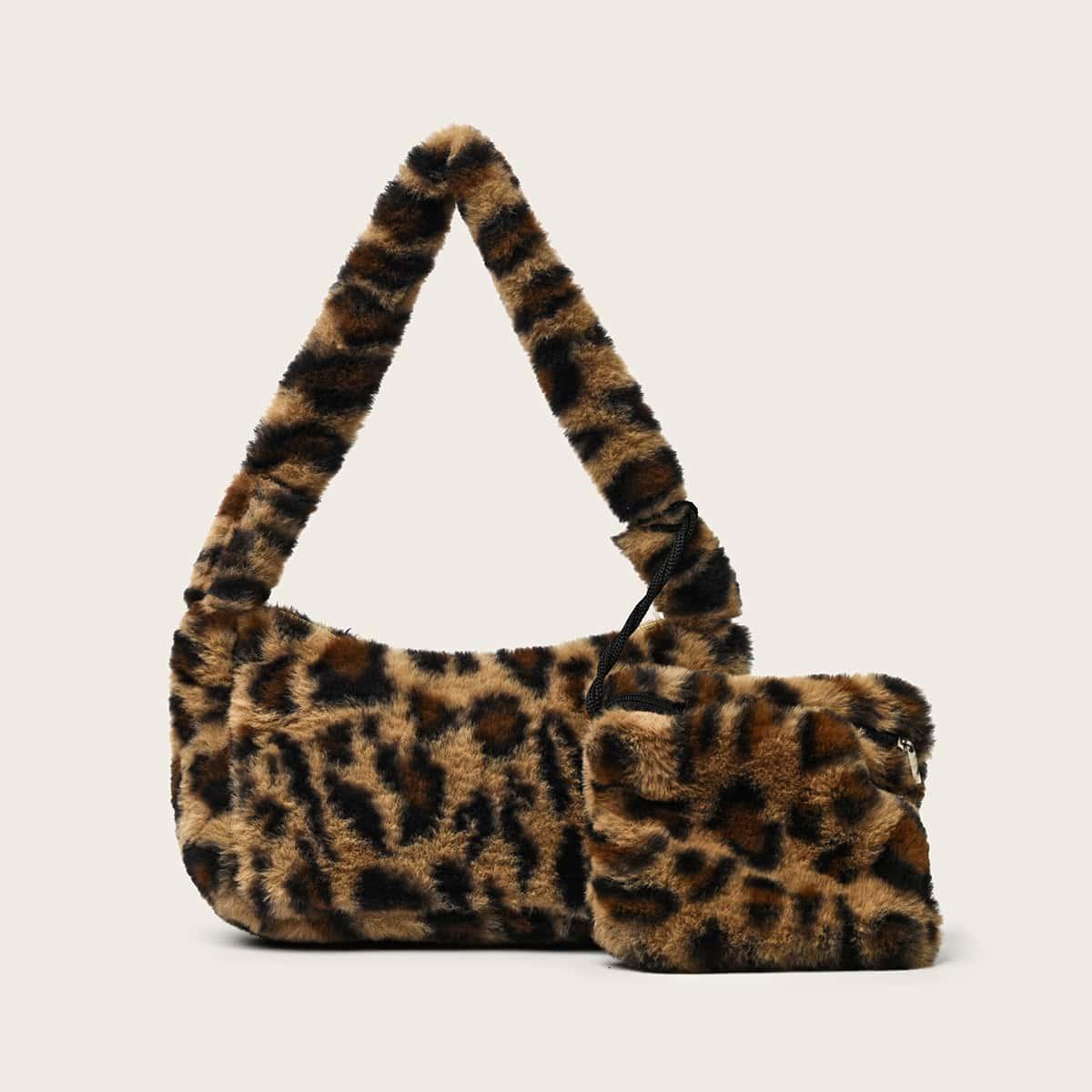 Leopard Fluffy Baguette Bag With Purse