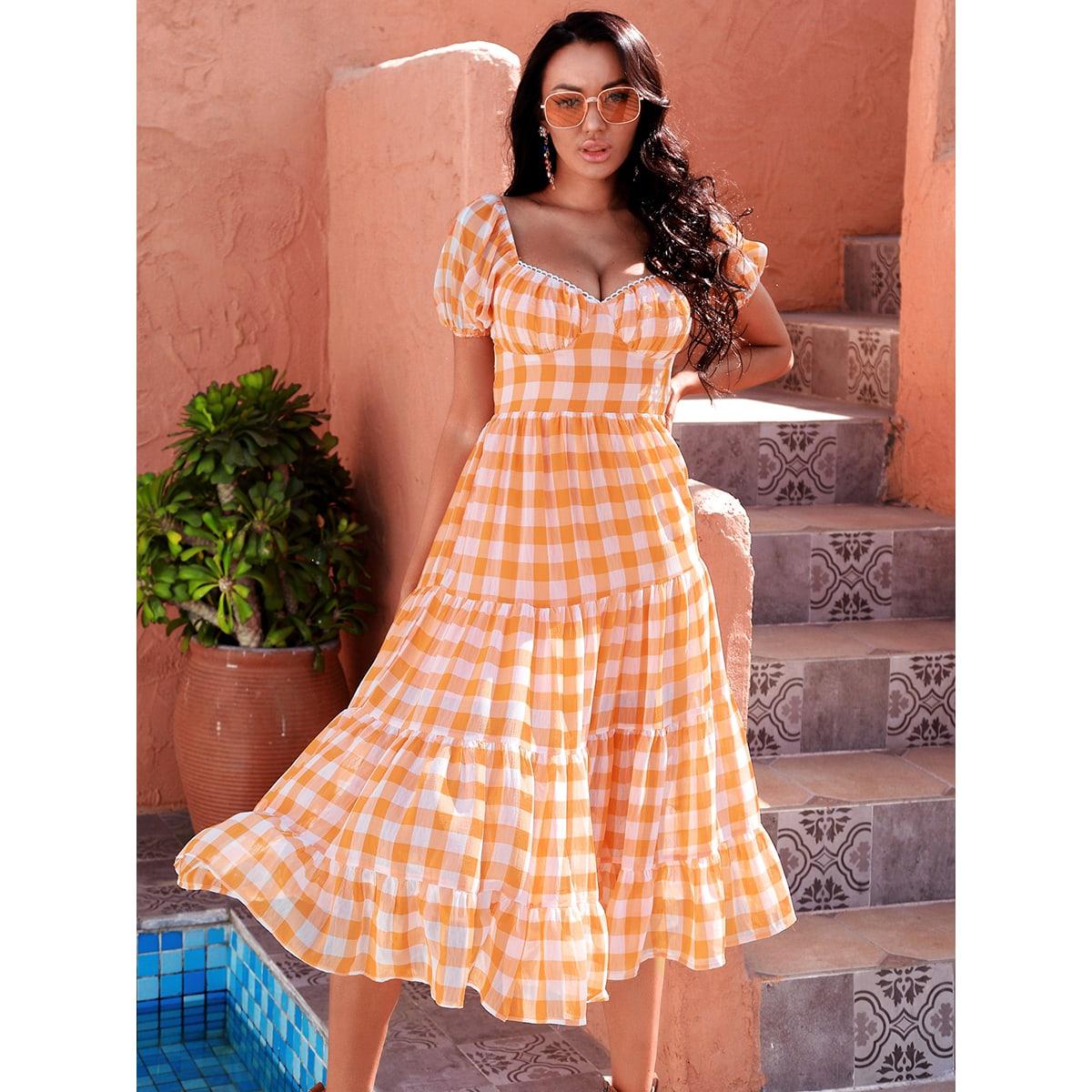 Платье в клетку с узлом сзади