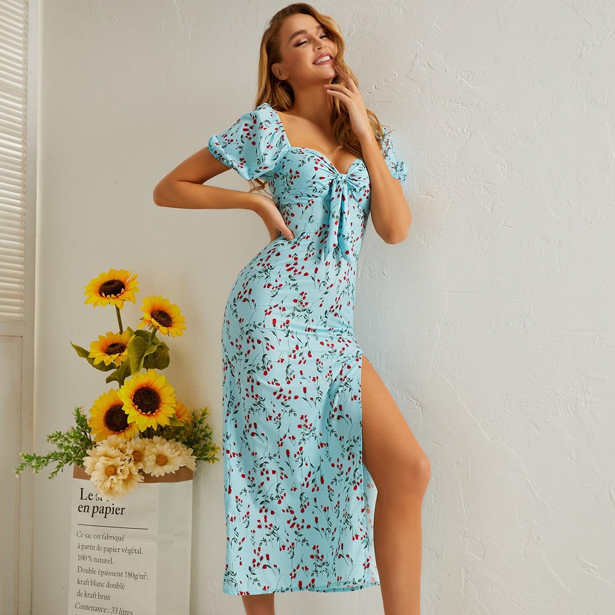 Платье с цветочным принтом и разрезом