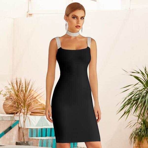 Zip Back Rhinestone Straps Bandage Dress With Choker, Black