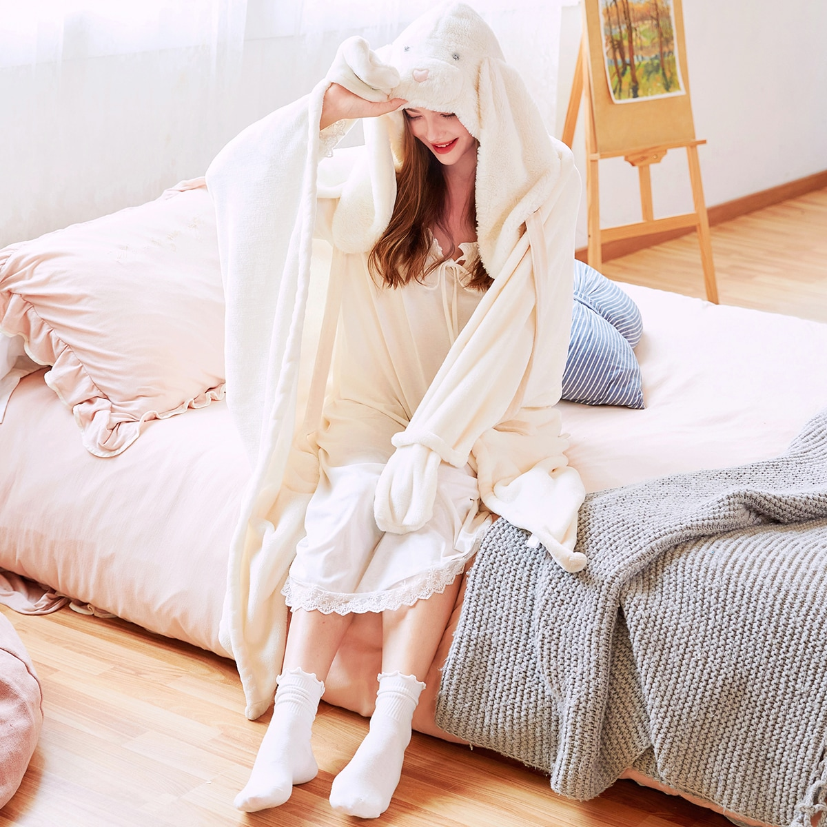 Фланелевый халат с капюшоном